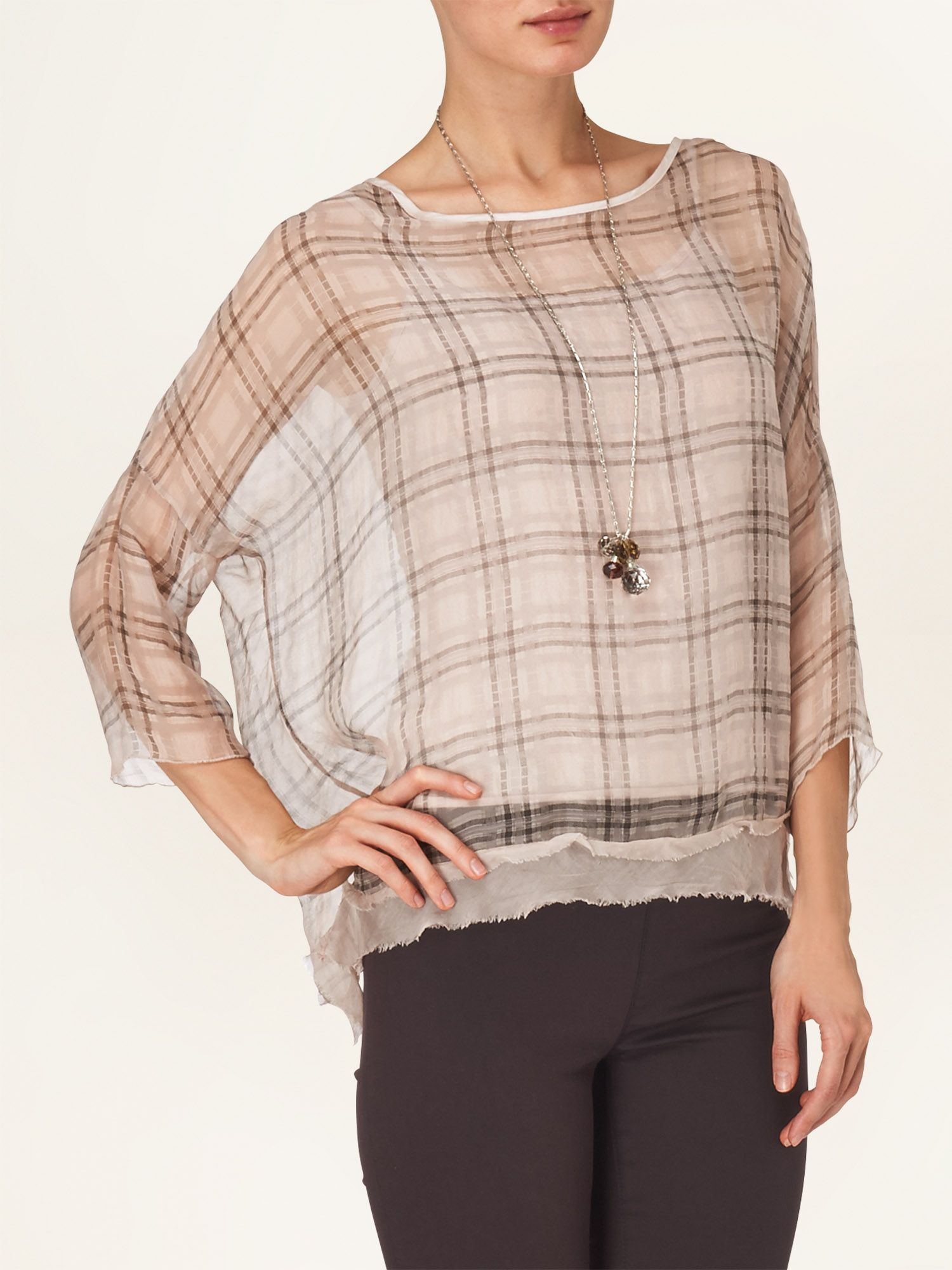 Danica check silk blouse