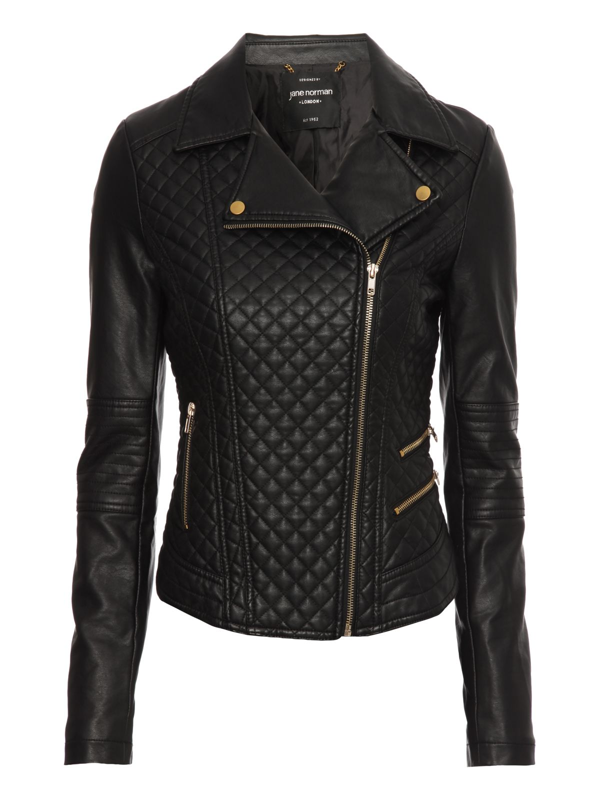 Quilted PU biker jacket