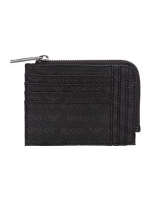 All over logo zip around card holder