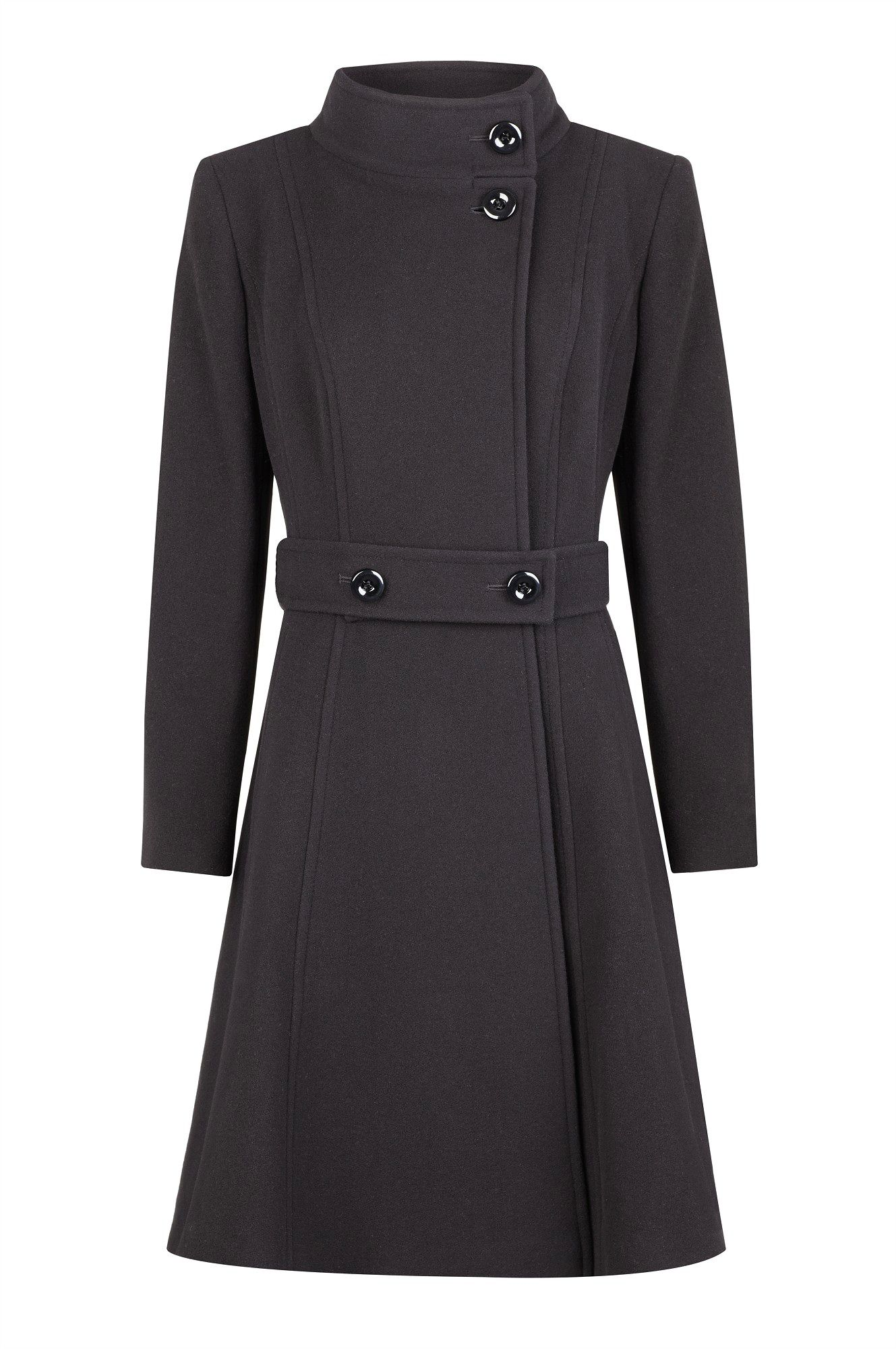 Black full skirt wool coat