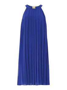 Pleated neck detail halter dress
