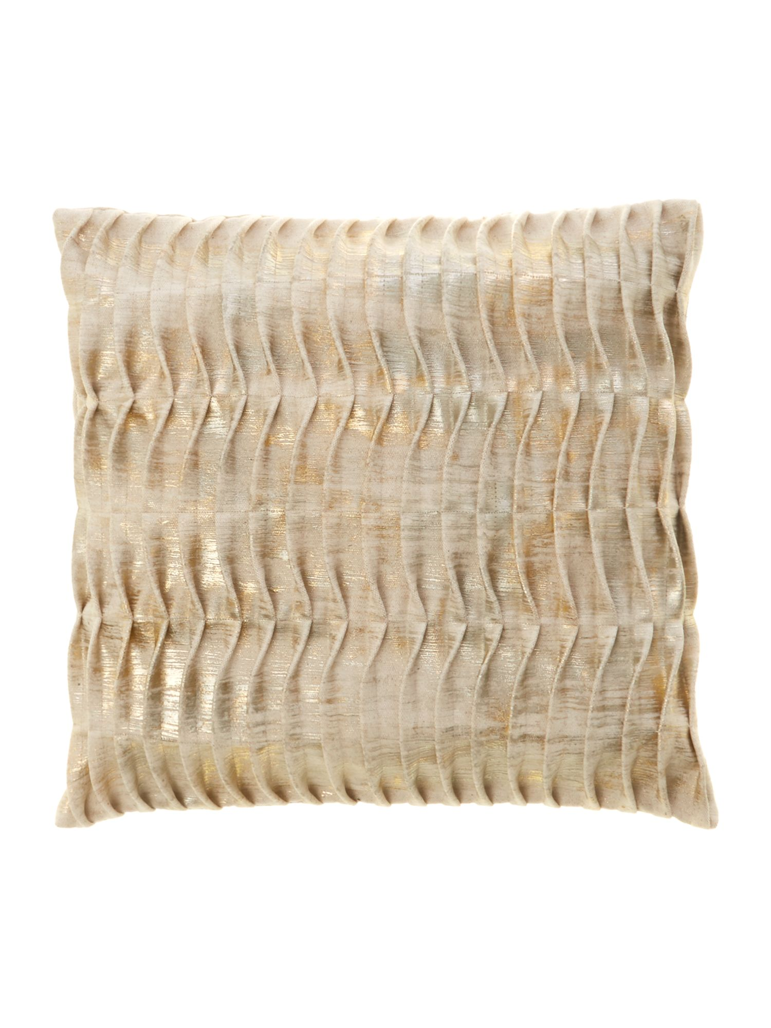Leblon wave-stitch, foiled pillow in pewter/gold