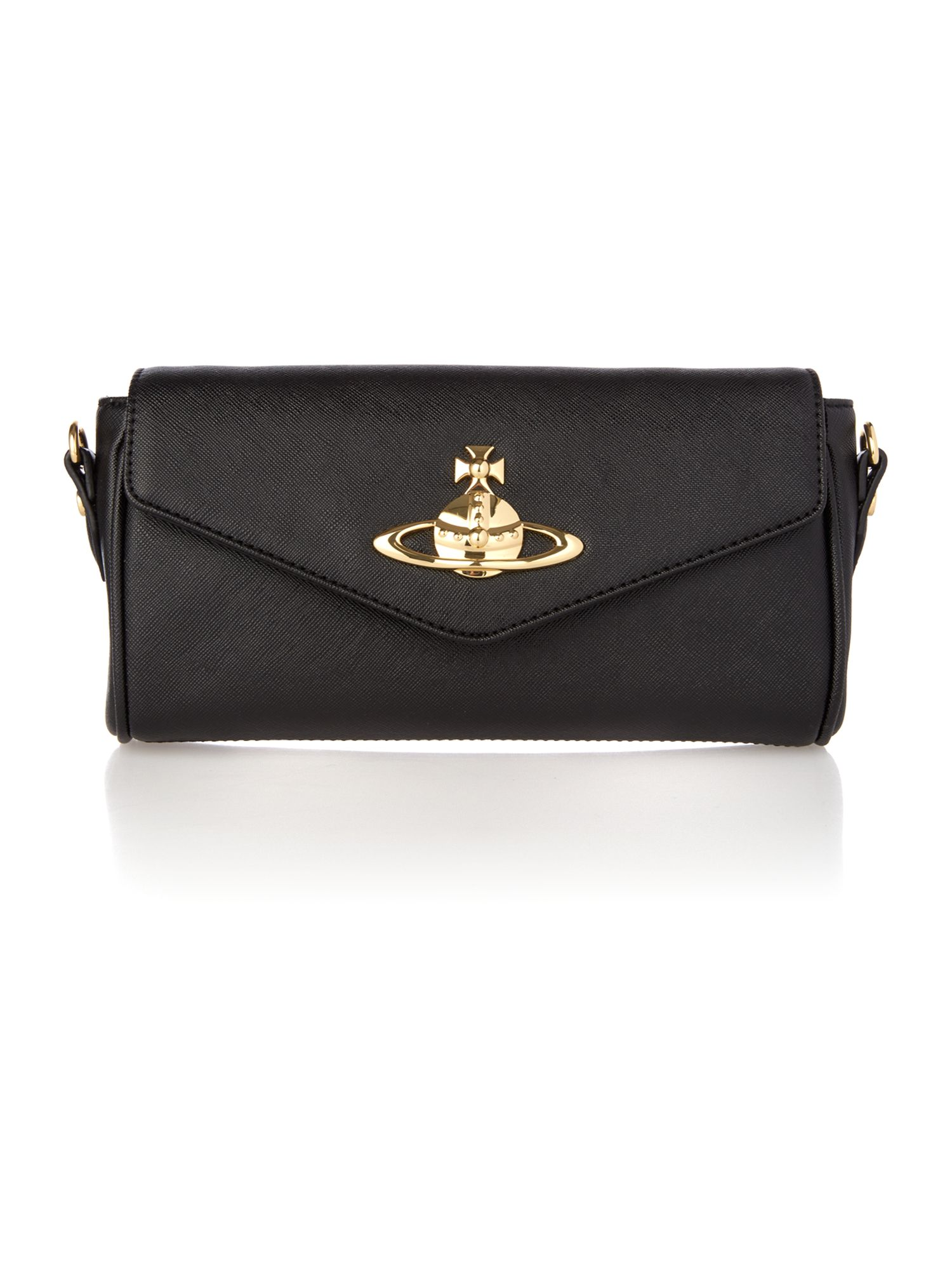 Divina small black flapover cross body bag