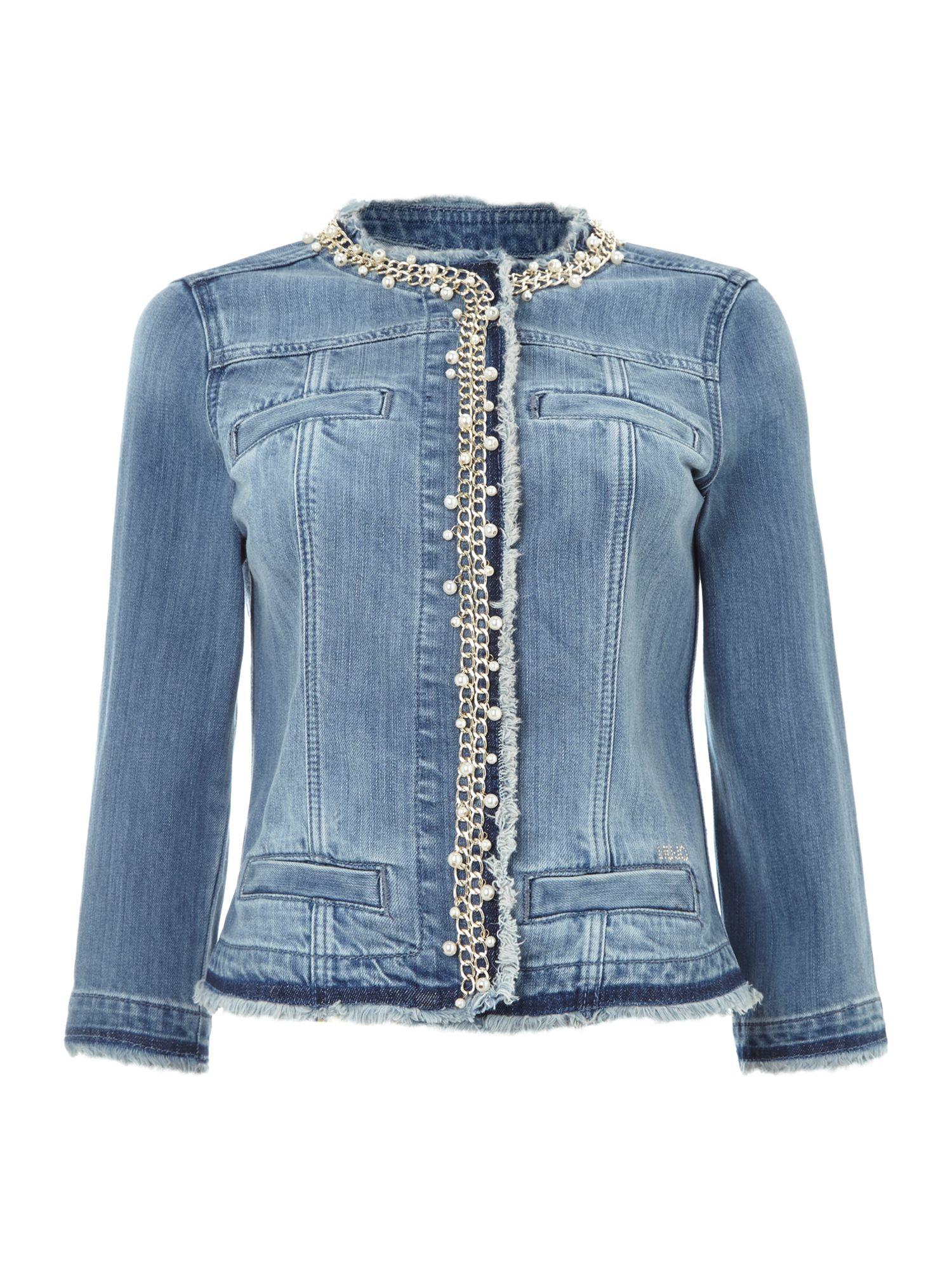 Pearl chain trim denim jacket