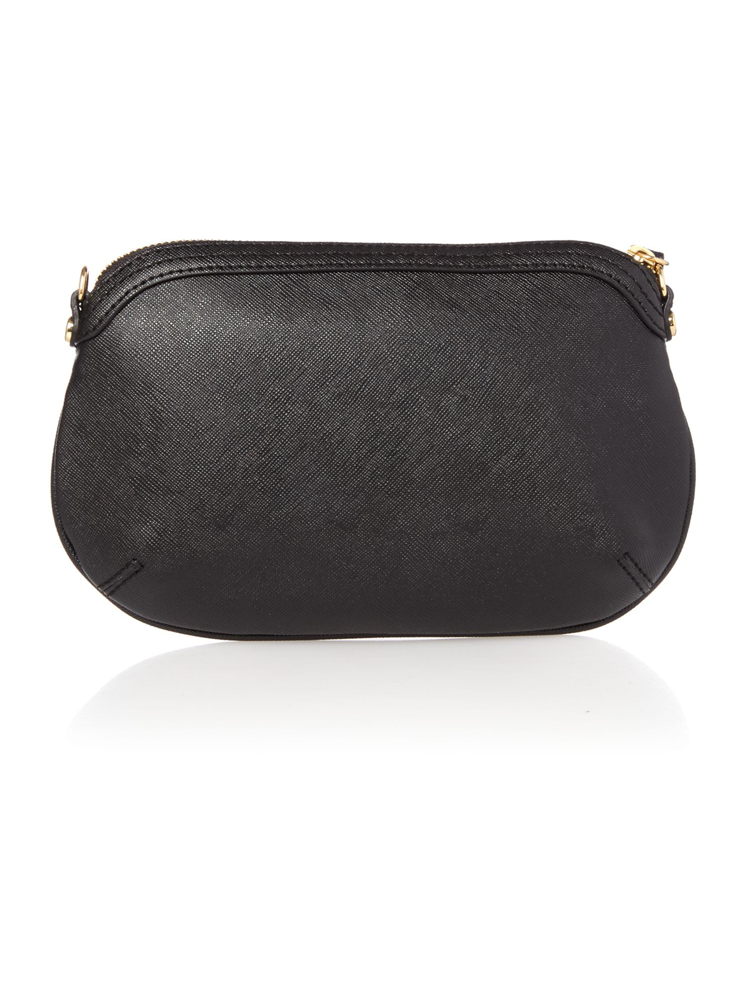 Divina small black zip top cross body bag