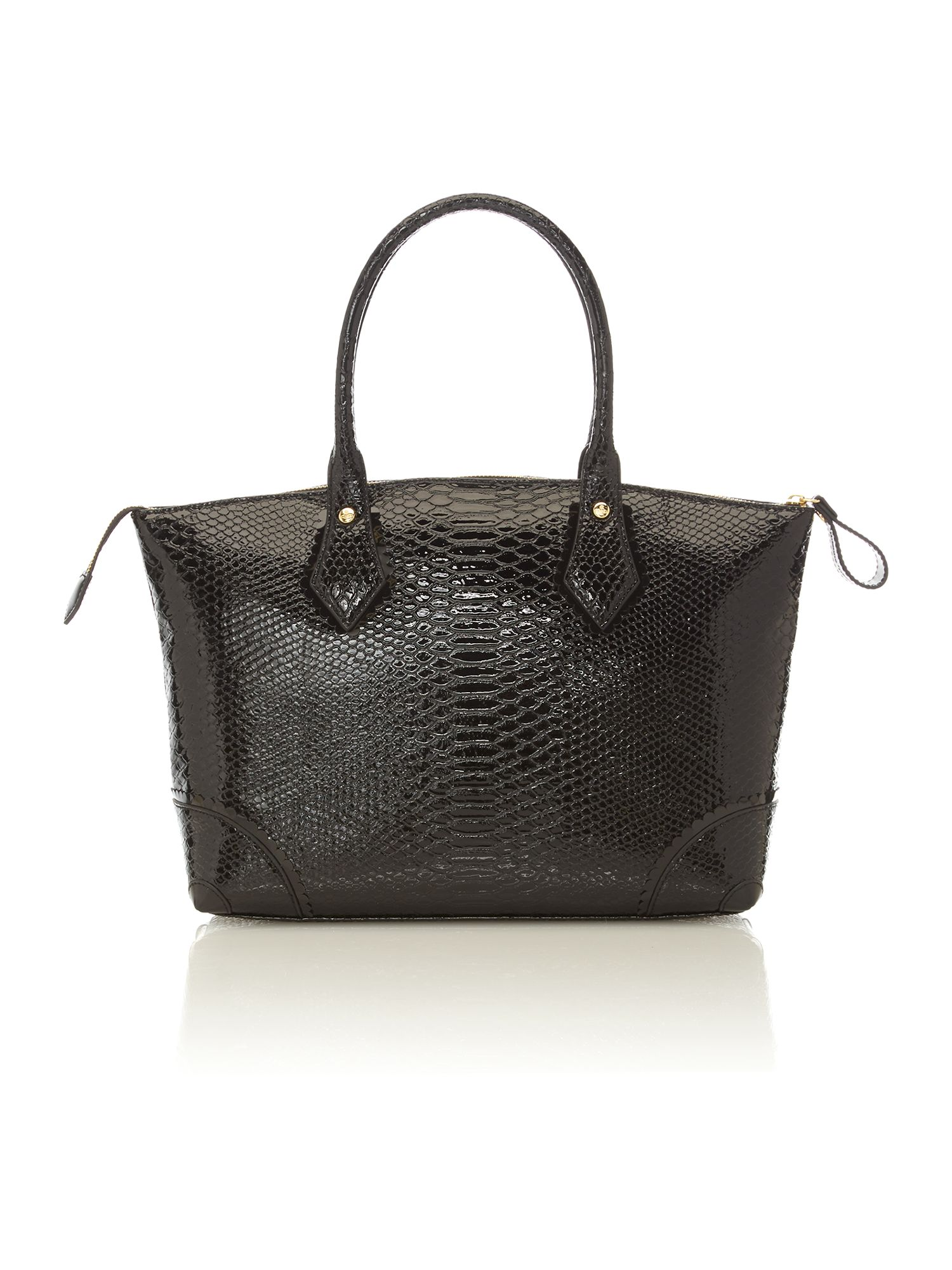 Frilly Snake large black tote bag