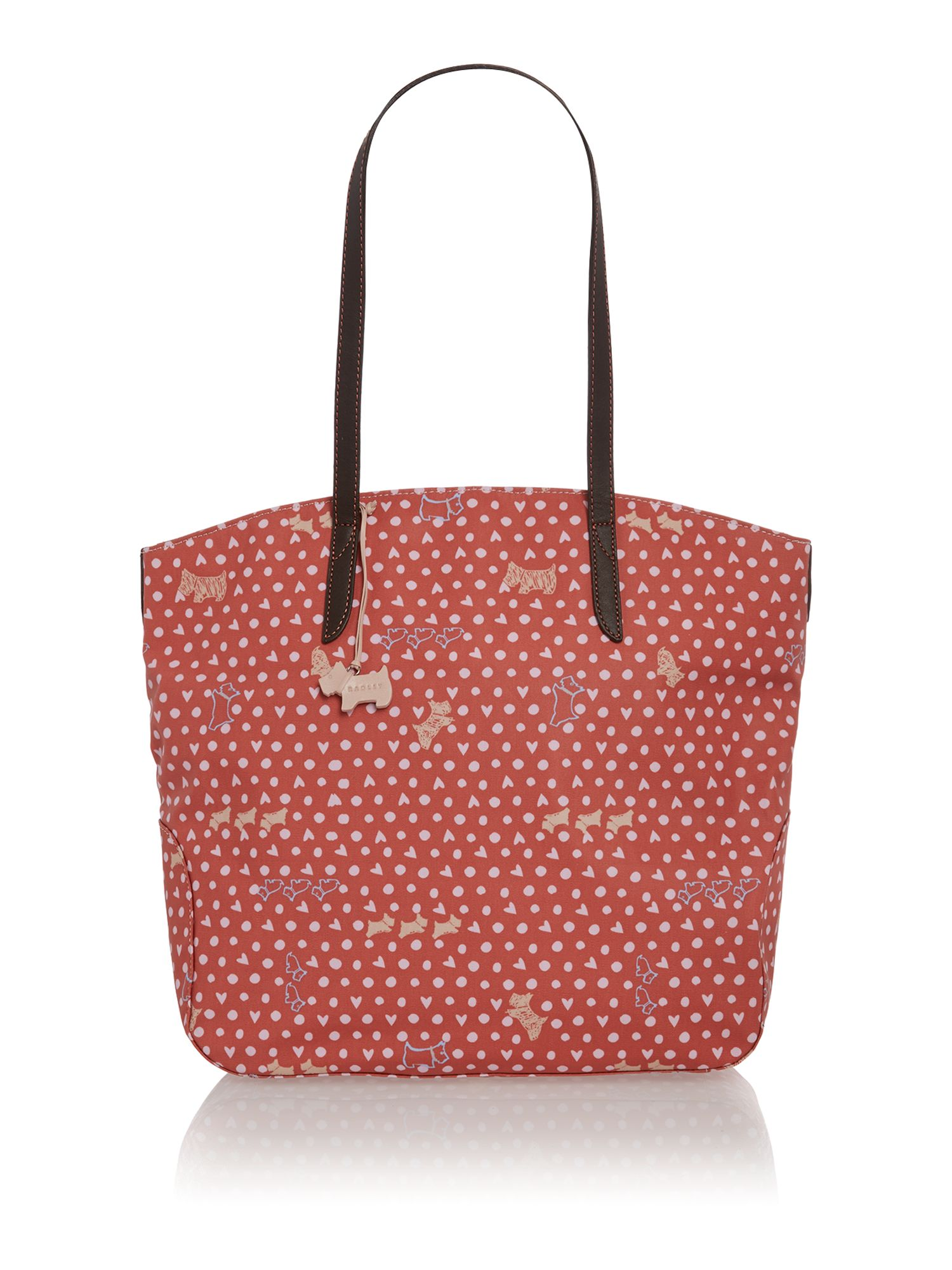 Hibbert coral zip top tote bag