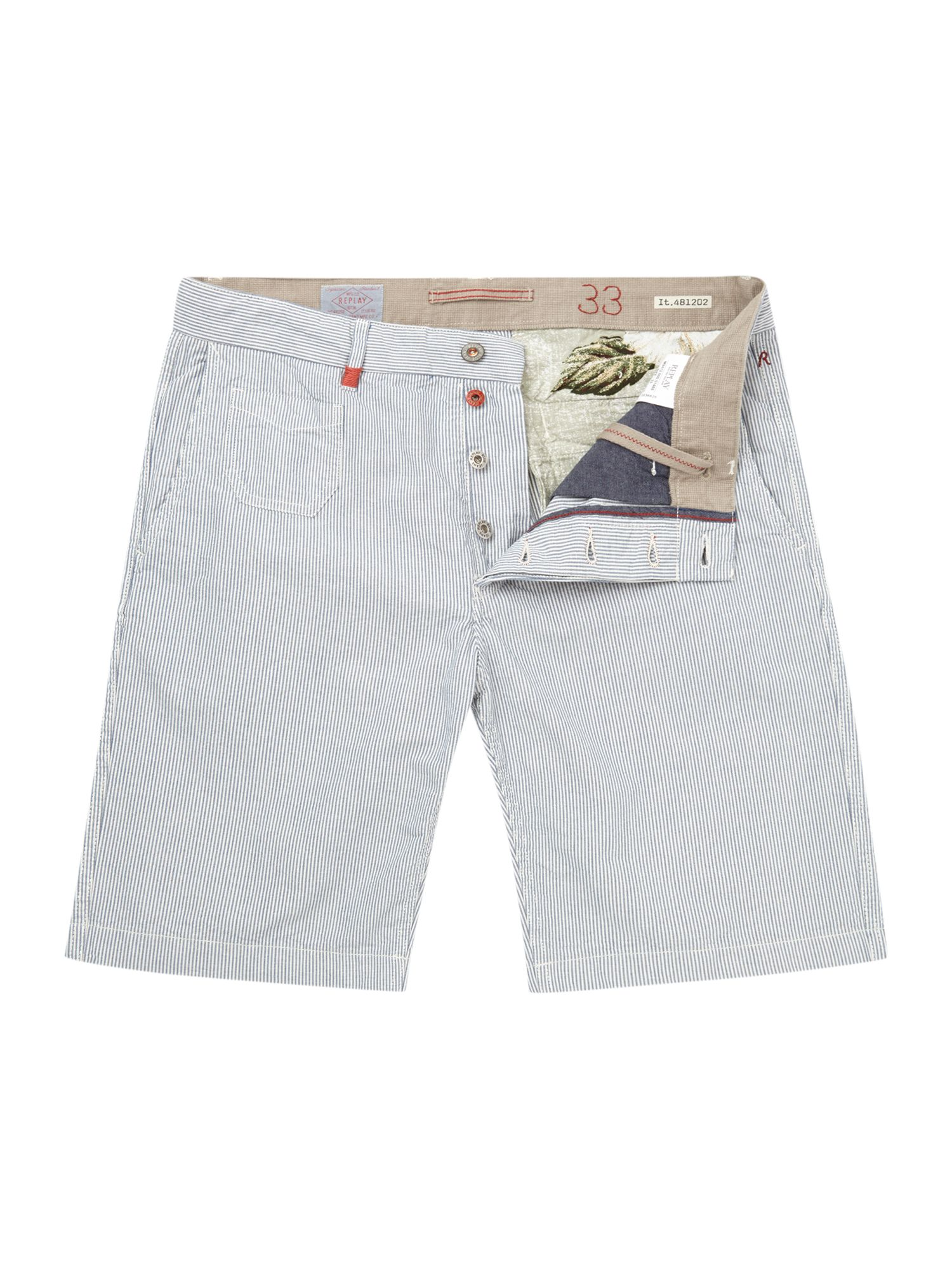 Striped regular fit chino short