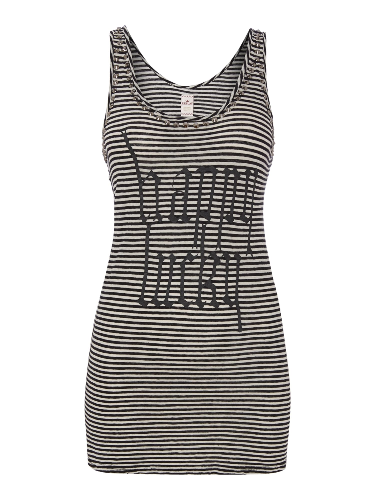 Striped cotton linen tank top
