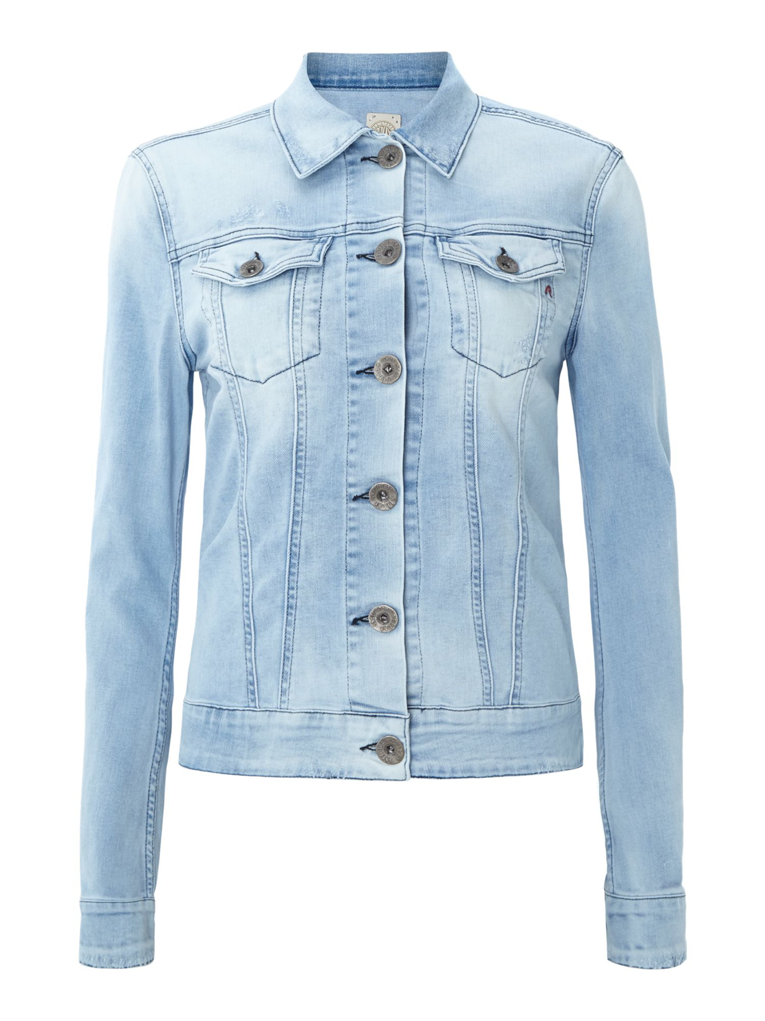 Stretch denim jacket with buttons