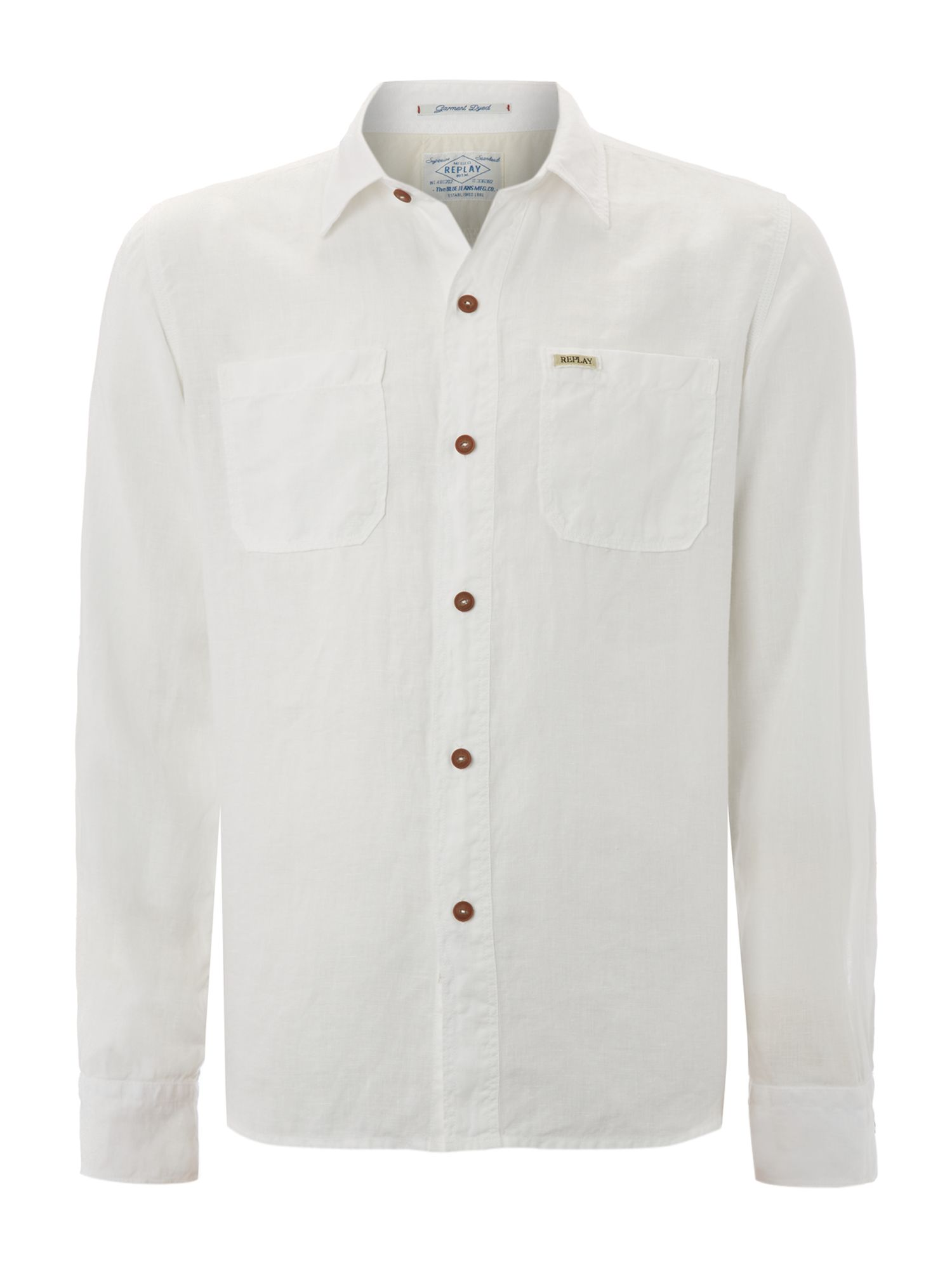 Long sleeved double pocket linen work shirt