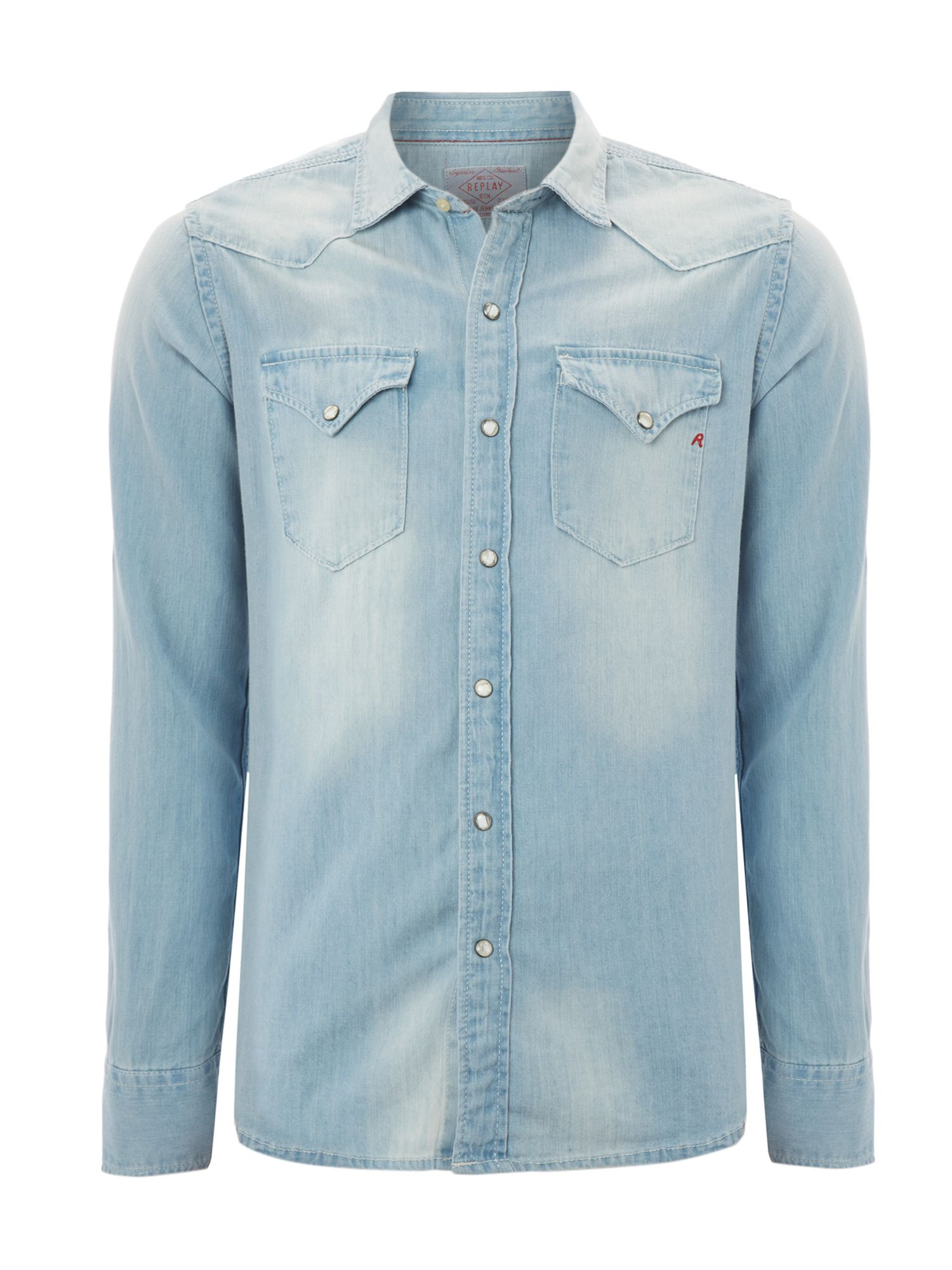 Long sleeved two pocket classic denim shirt