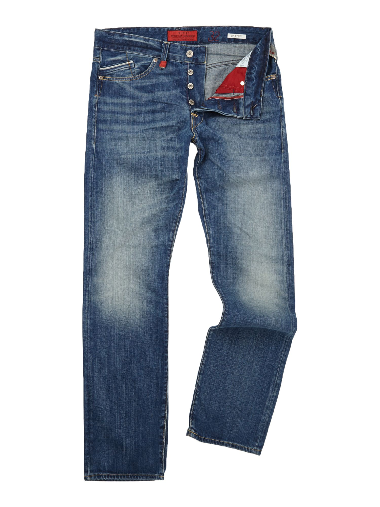 Mens Replay Waitom regular slim fit denim jeans Blue