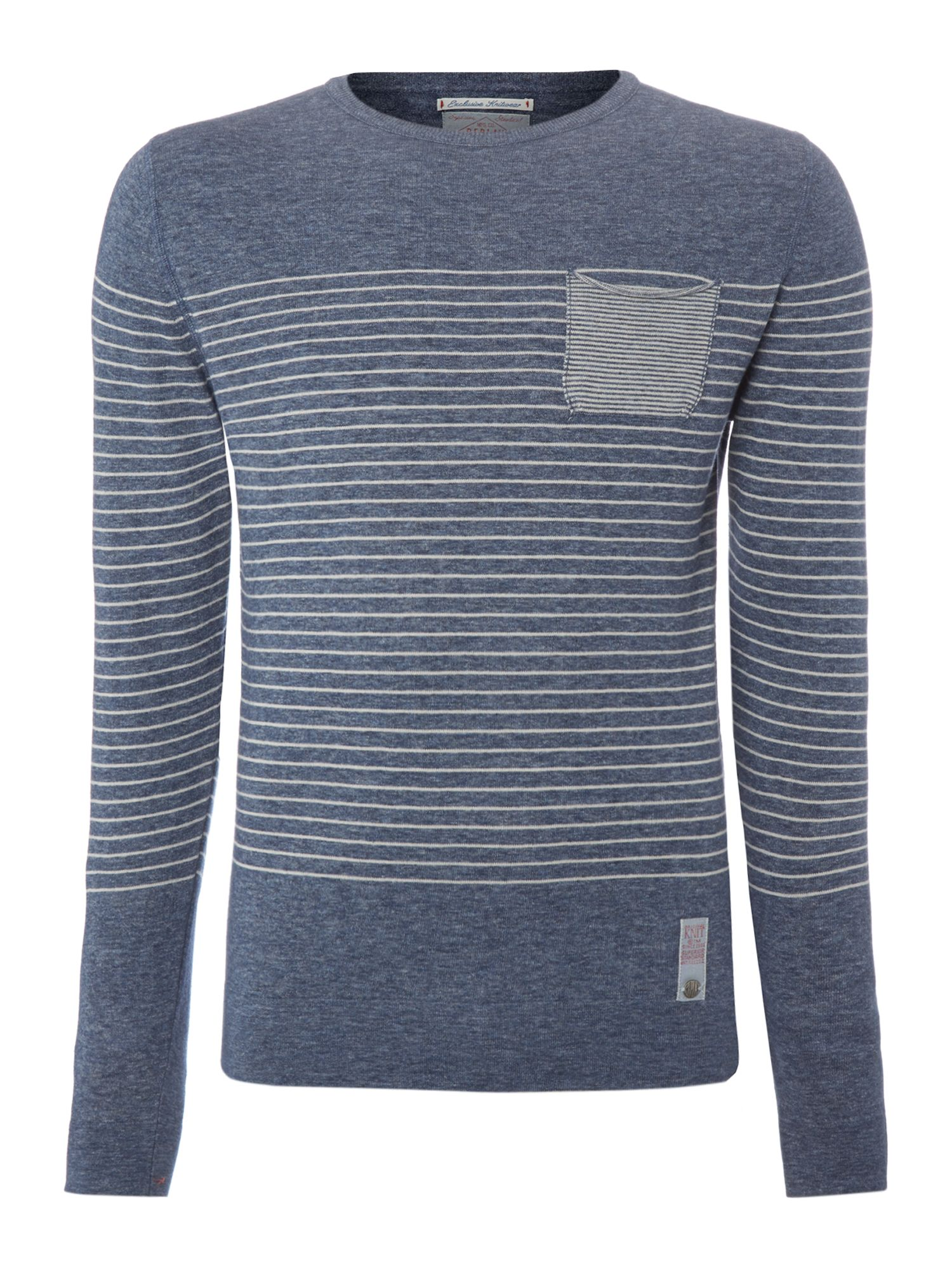 Striped round collar melange cotton mesh jumper