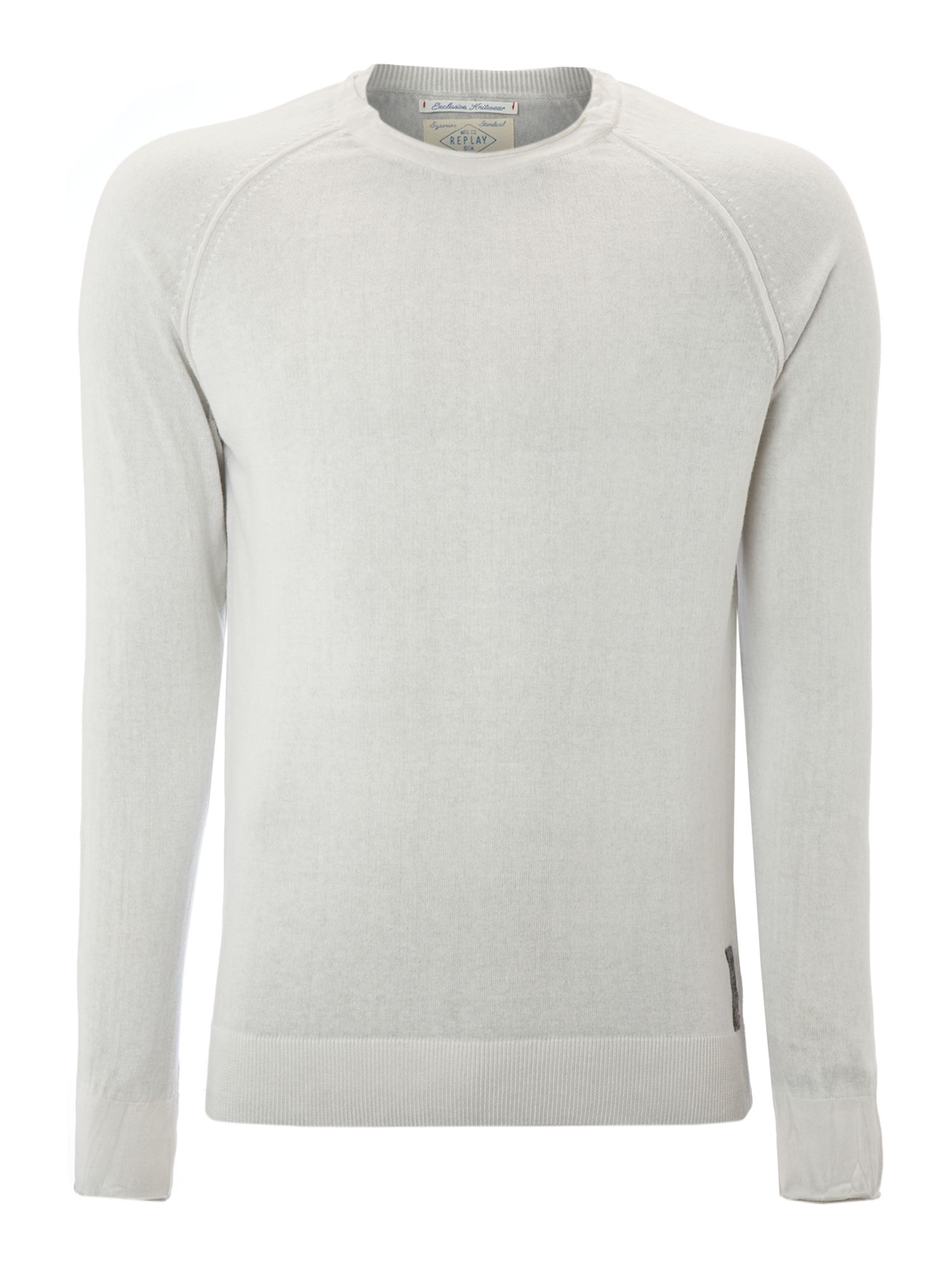 Round neck cotton mesh jumper