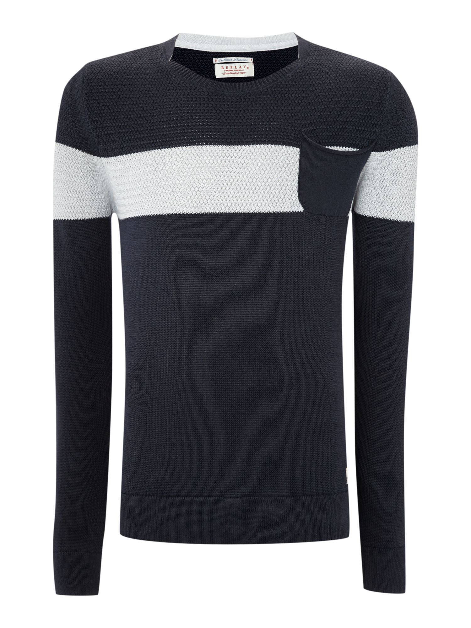 Round neck with one stripe cotton mesh jumper