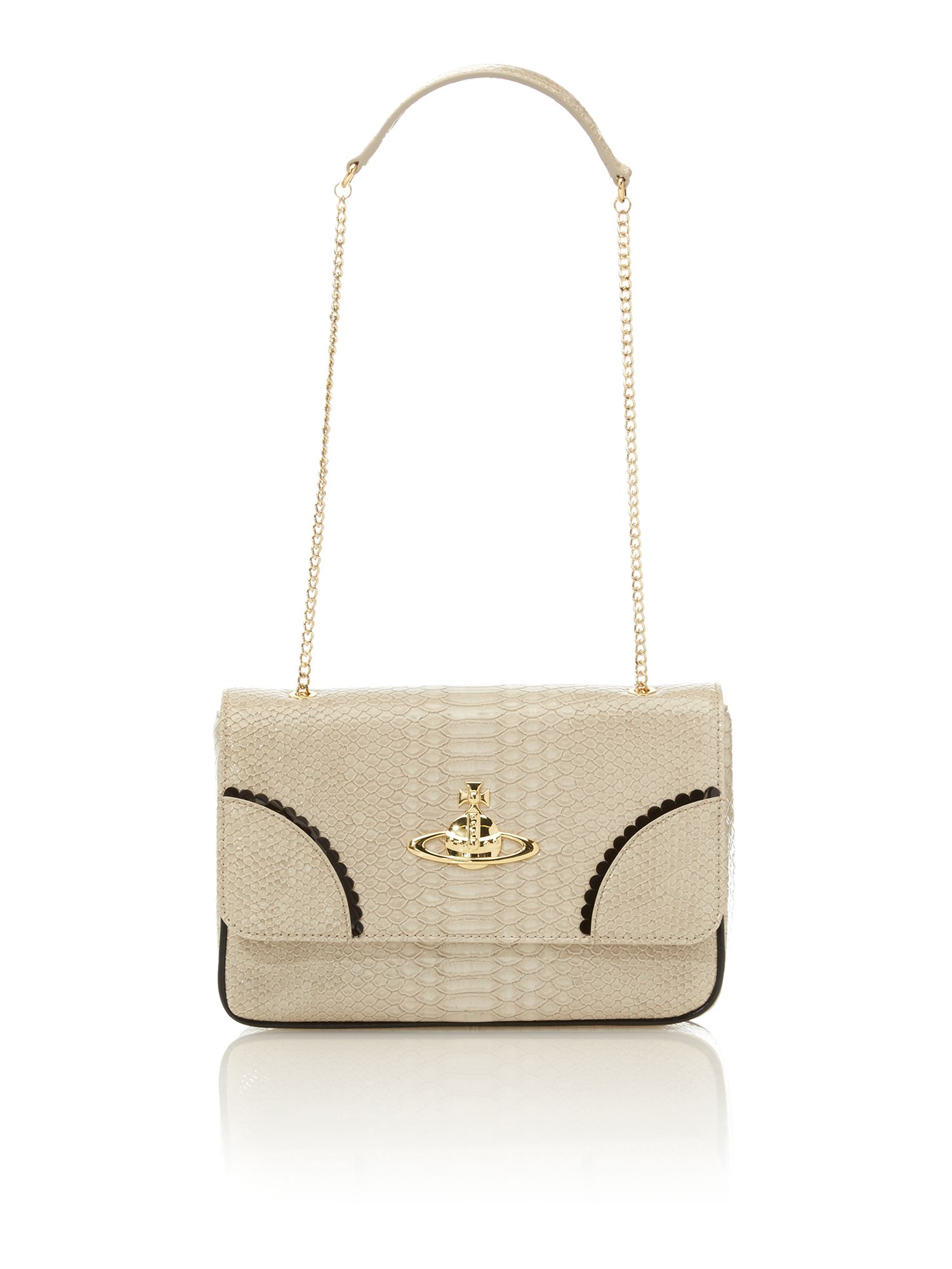 Frilly Snake neutral chain shoulder bag