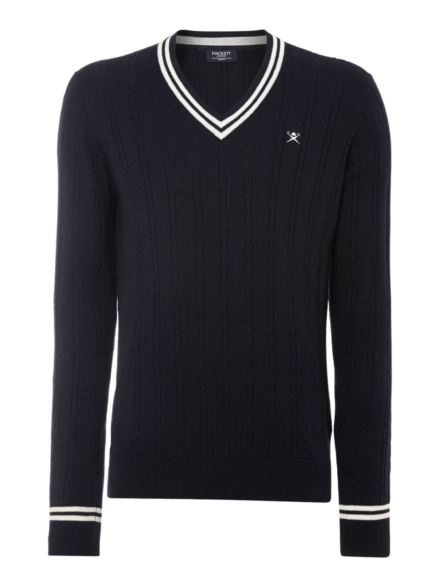 Fine cable knit cricket jumper