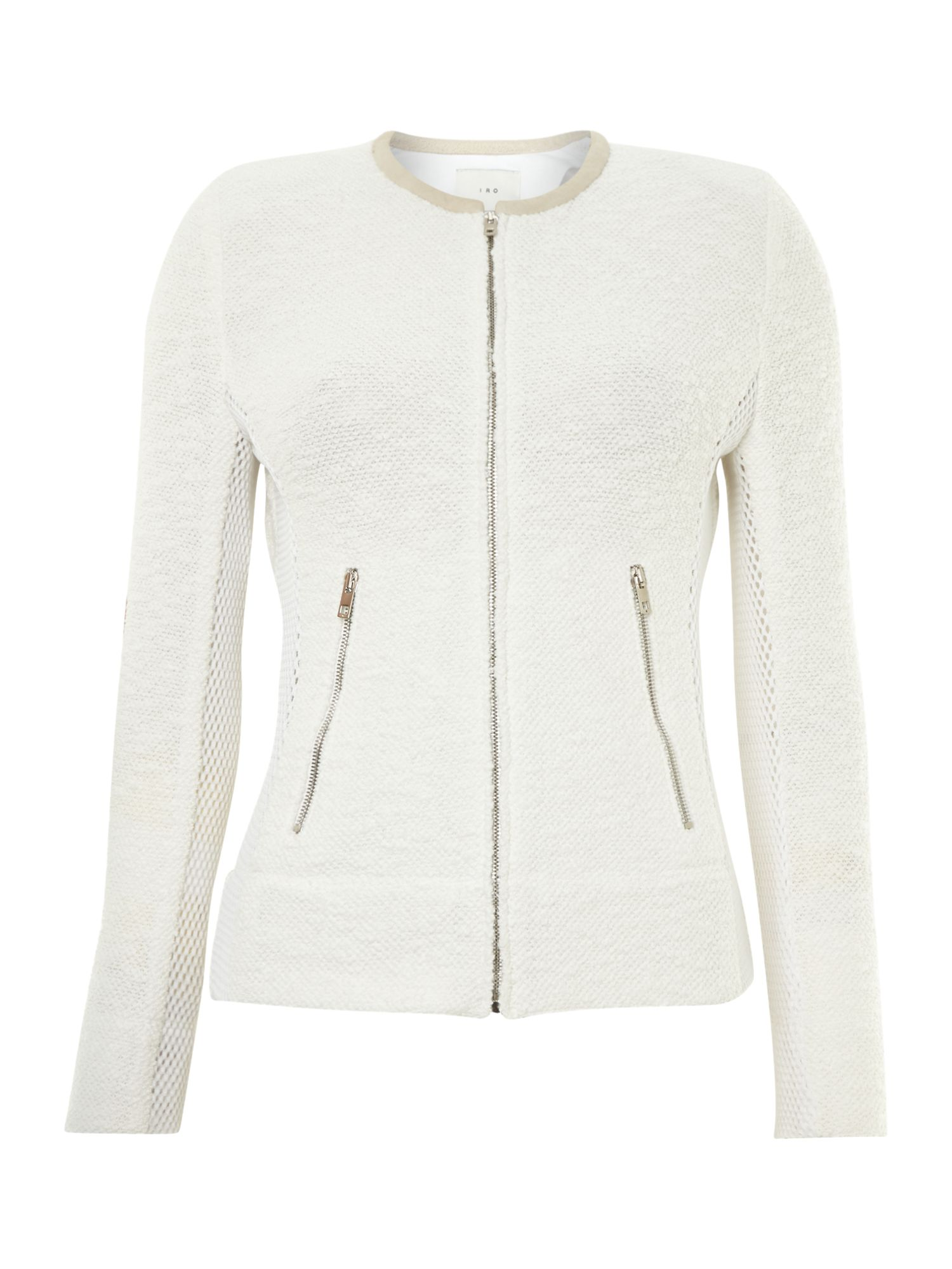 Round neck boucleside detail jacket