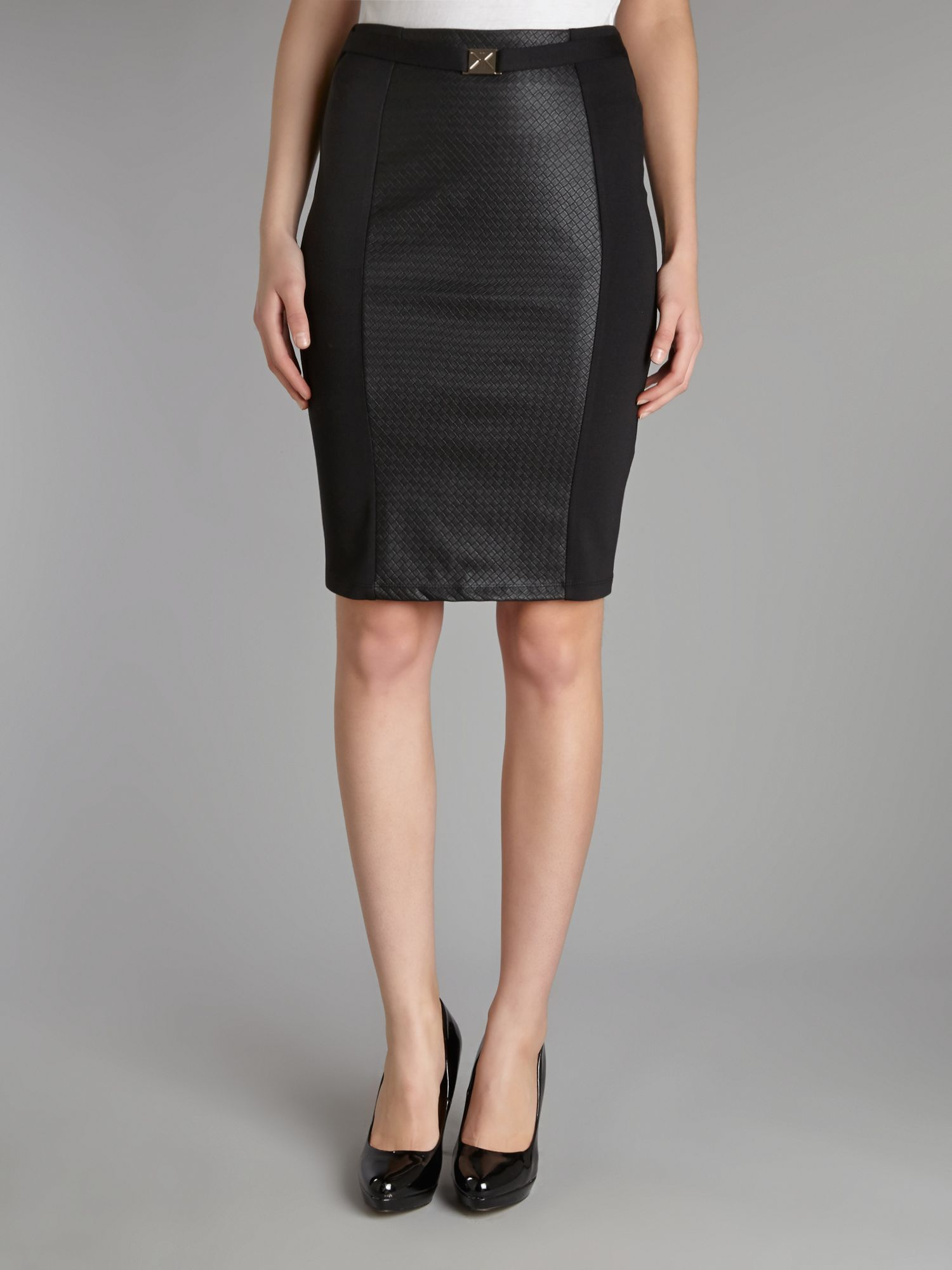 Kardashian PU quilted panel skirt