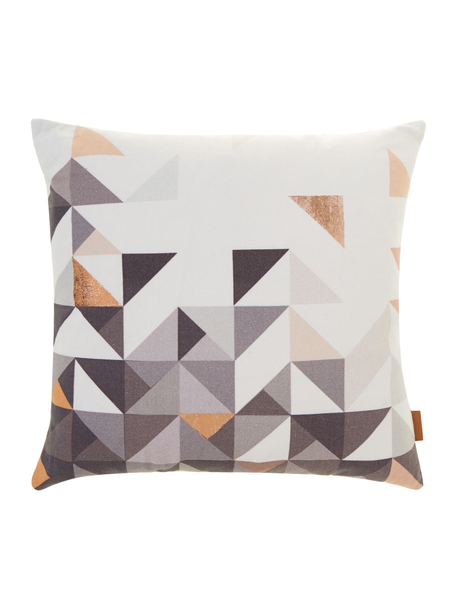 Paulista copper geometric, velvet backed cushion