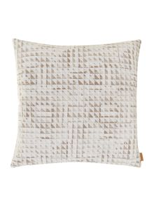 Quadrant triangle overlay cushion in taupe/grey