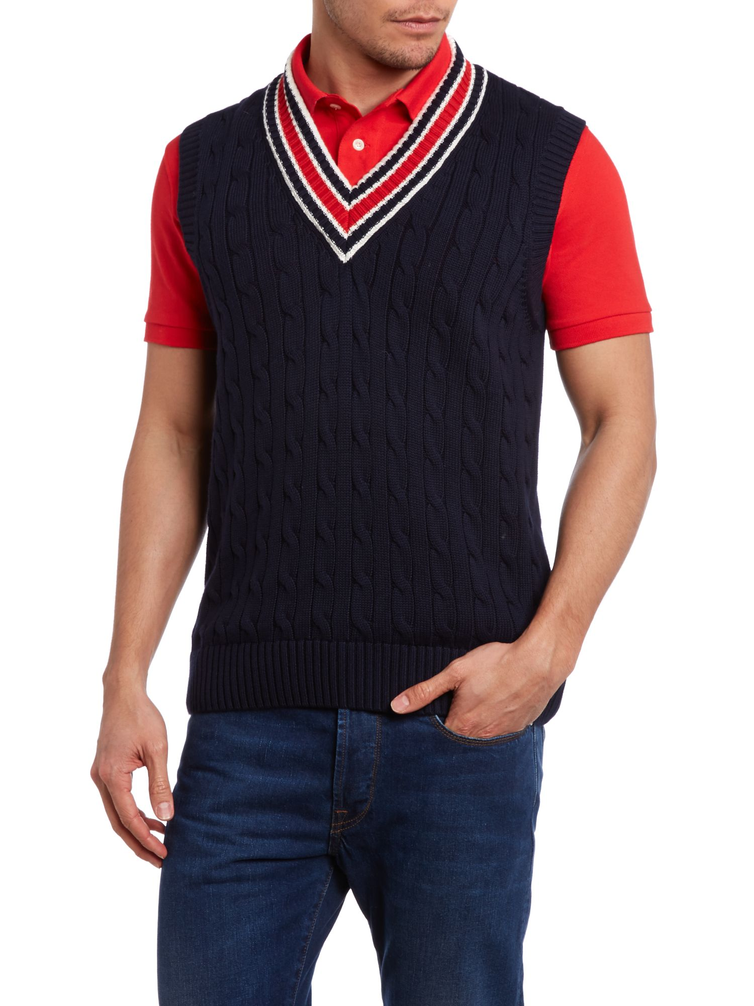 Chunky cricket cable knit vest
