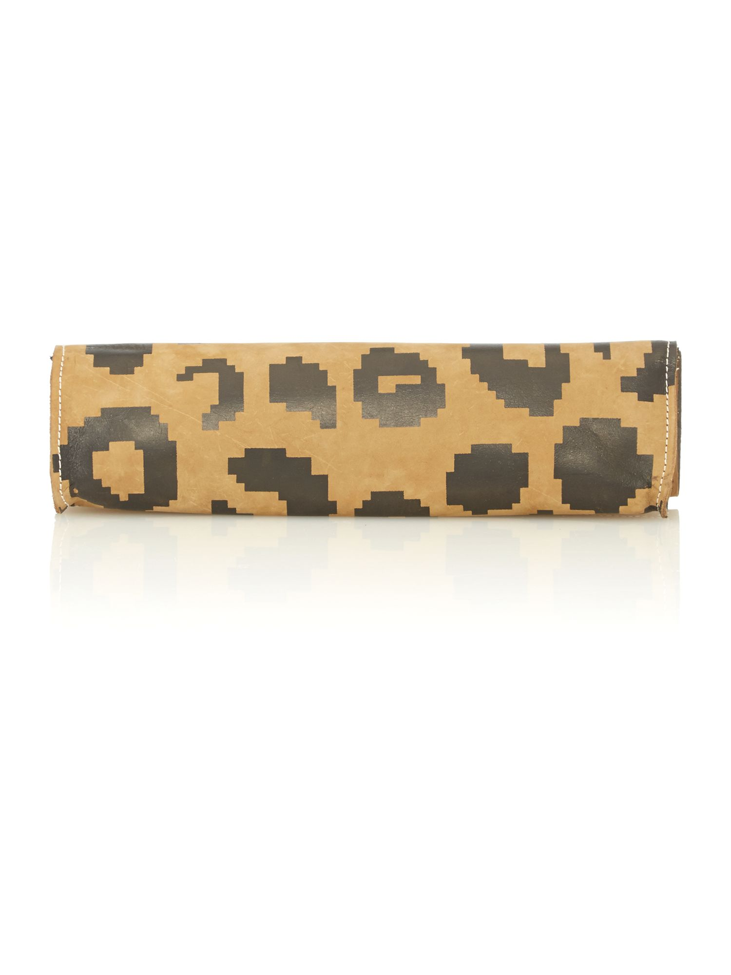 Africa multi coloured leopard clutch bag