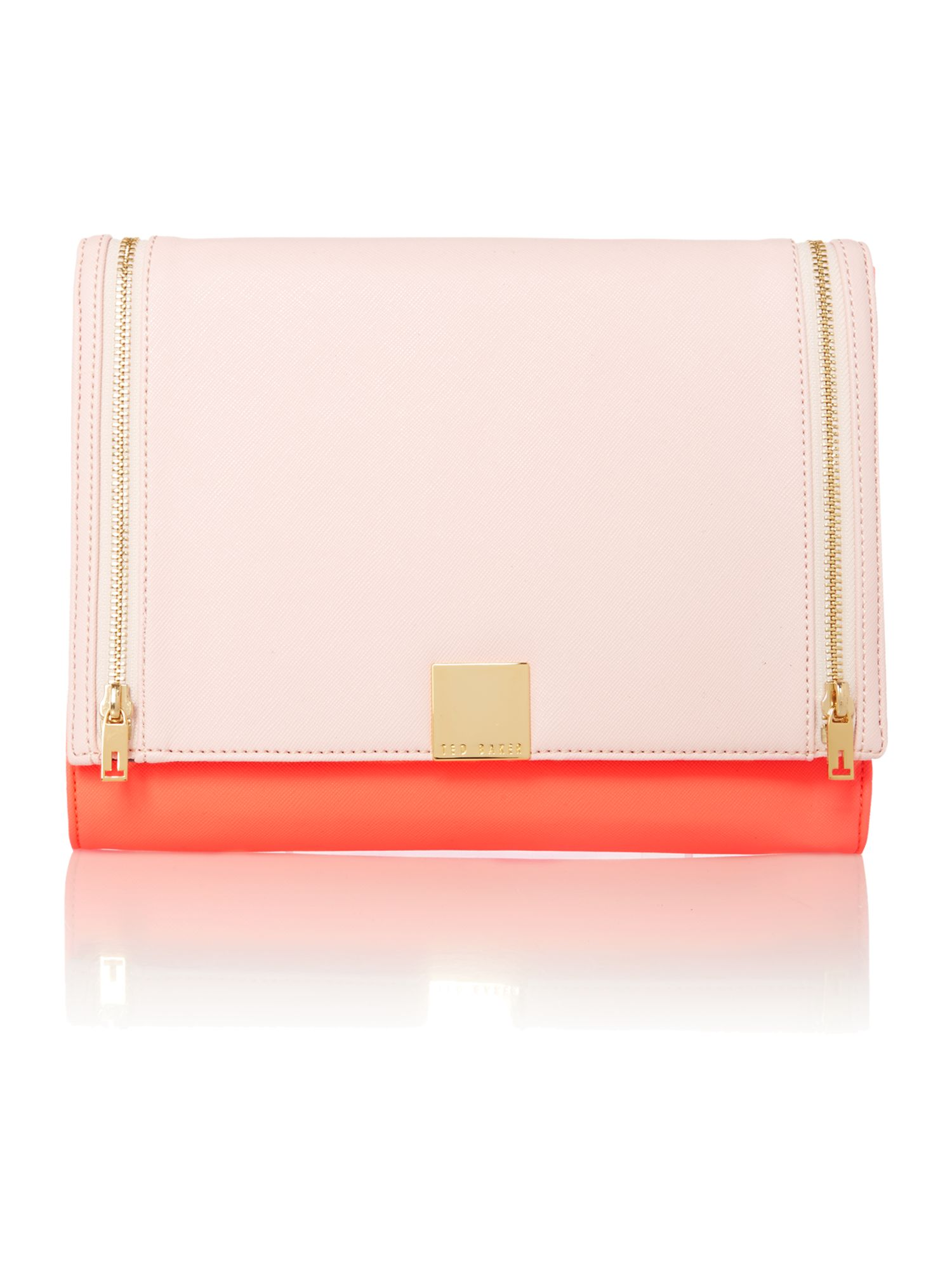 Medium pink and nude clutch bag