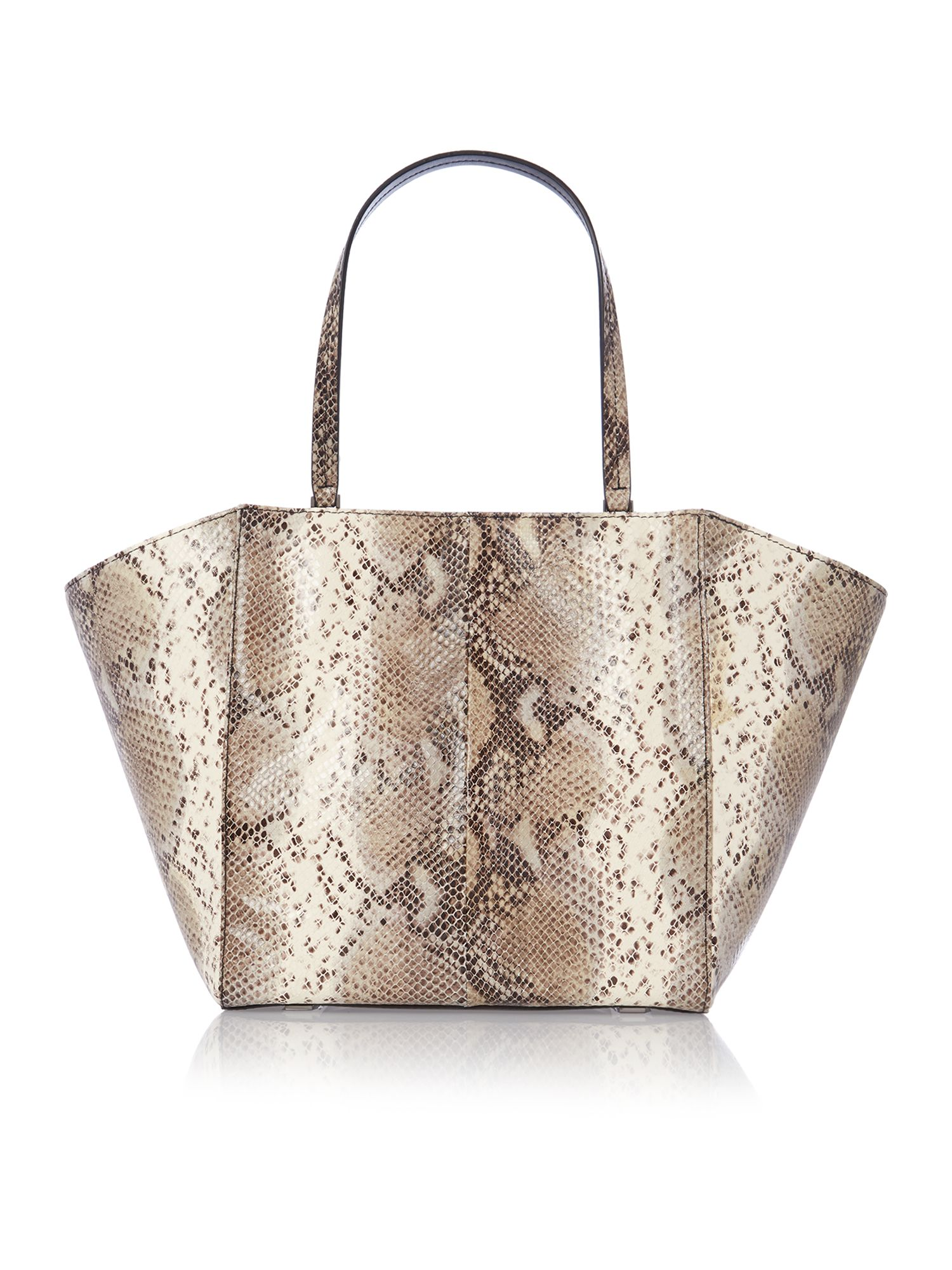 Large green snakeskin tote bag
