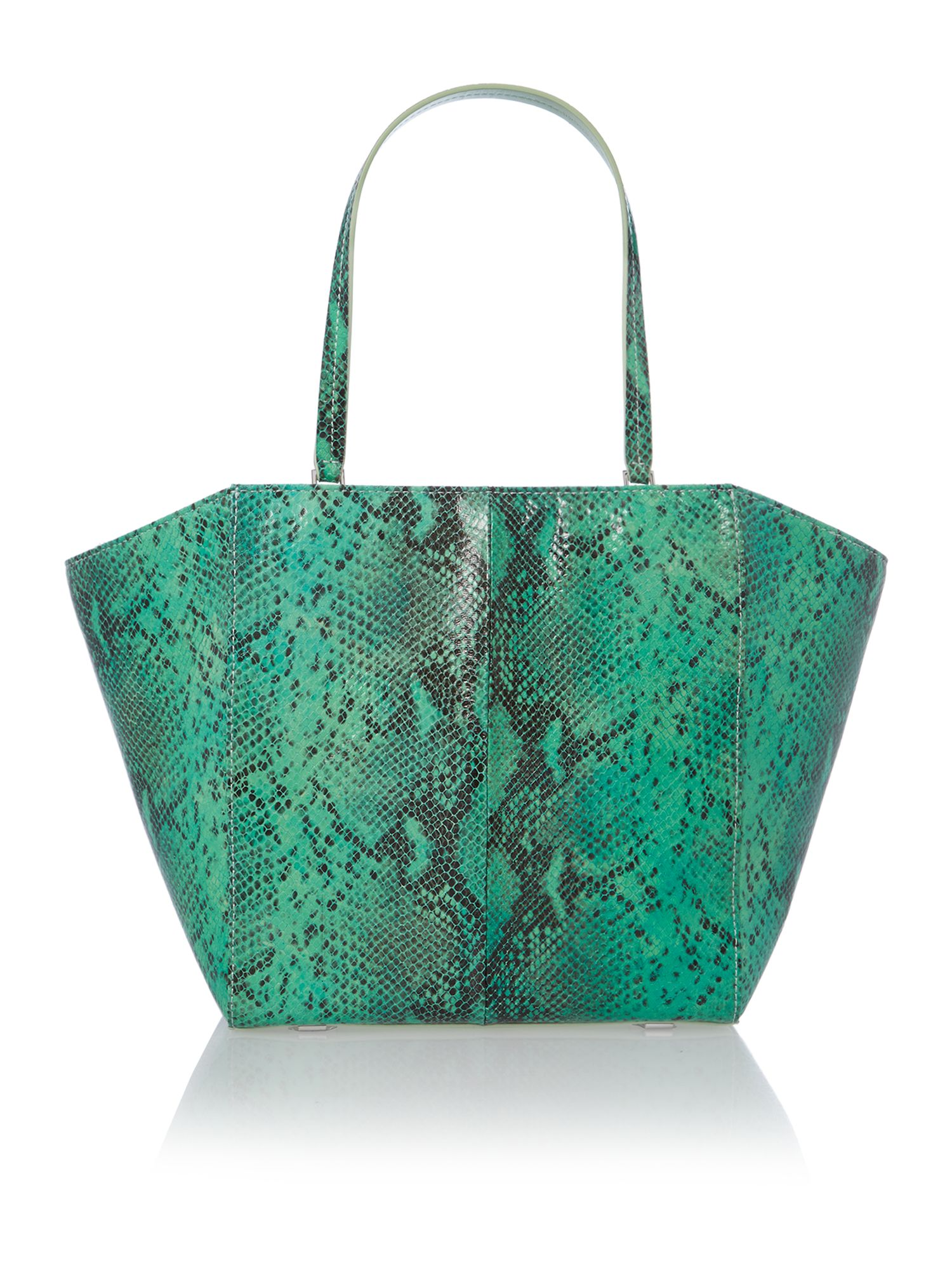 Medium green snakeskin cross body bag