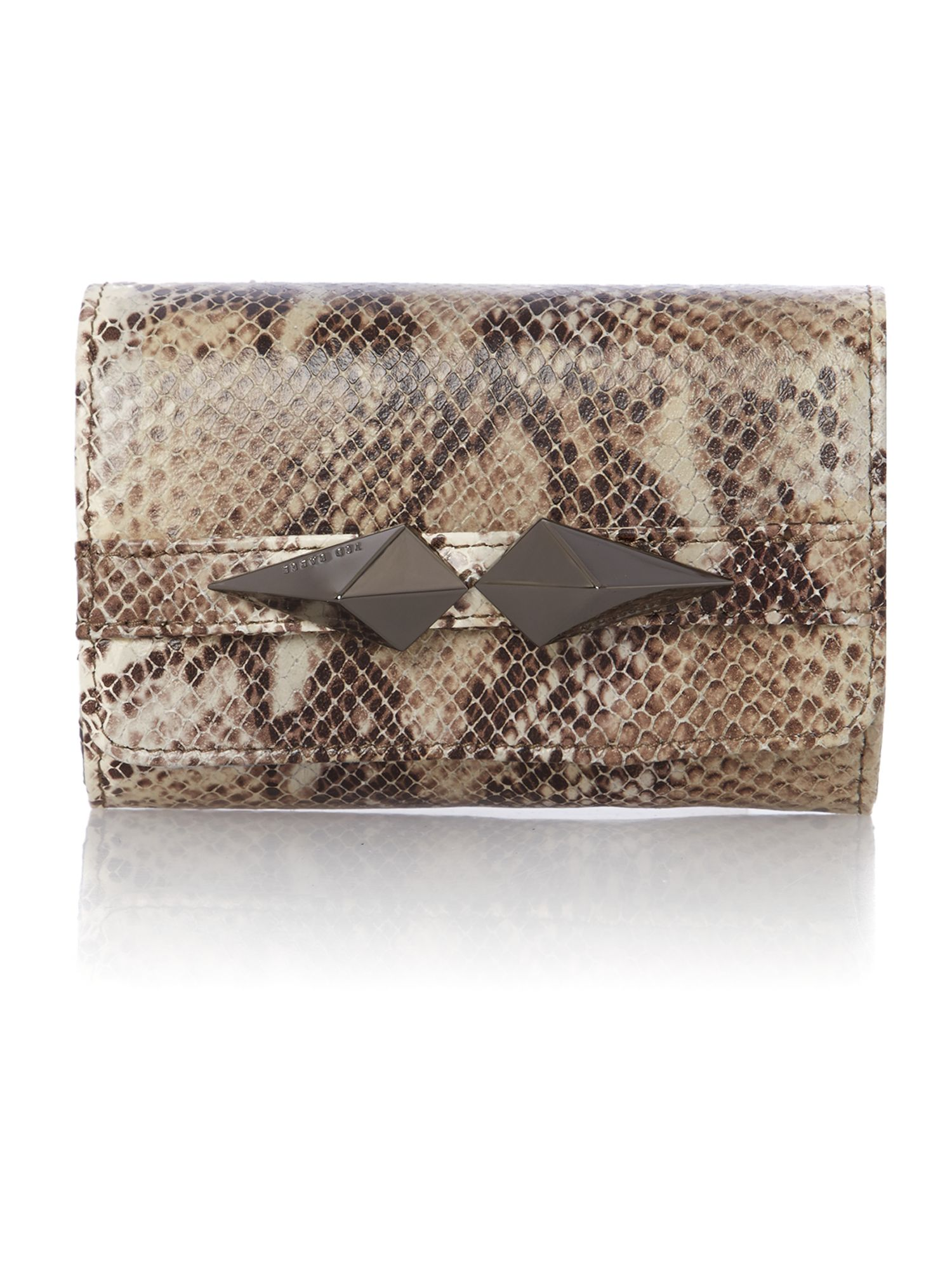 Mini black snake clutch bag