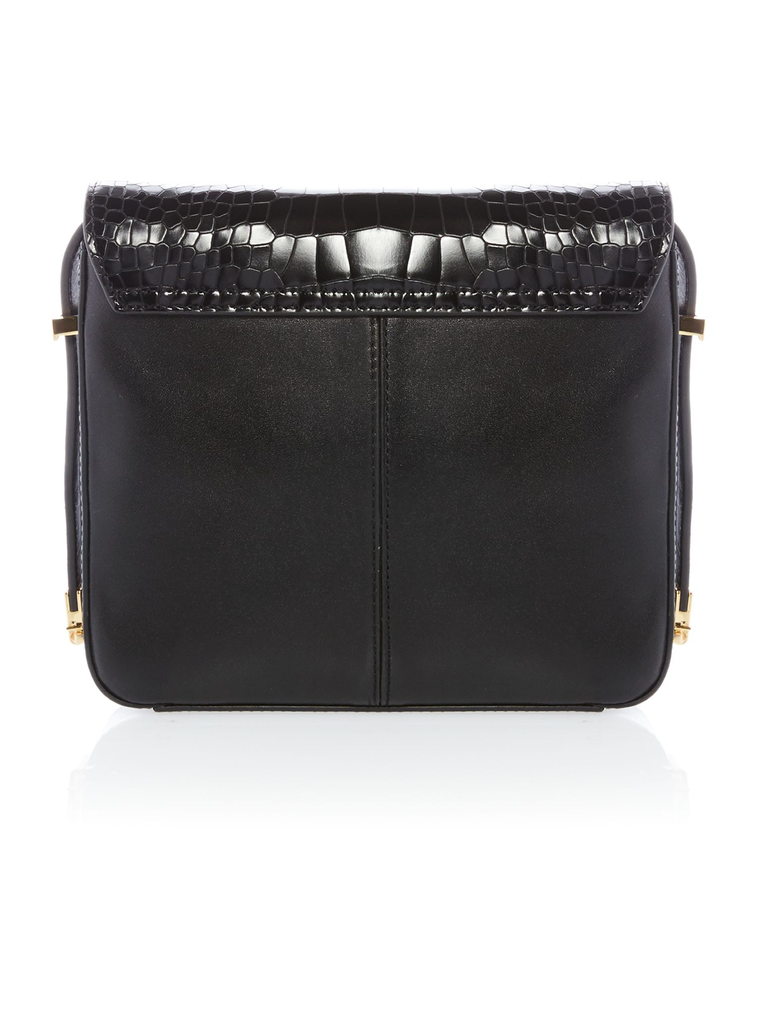Small black croc metal t-bar cross body bag
