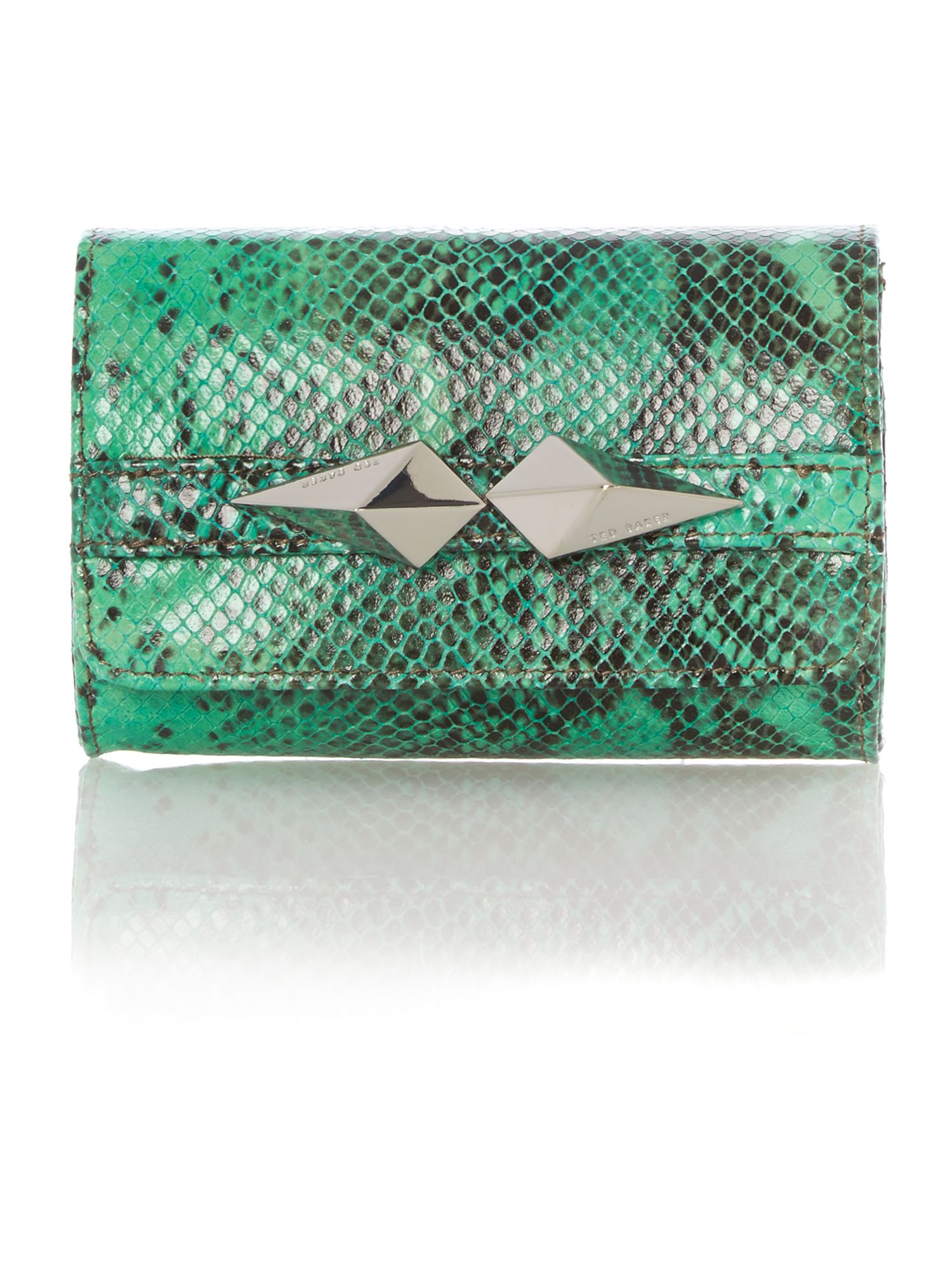 Mini green snake clutch bag