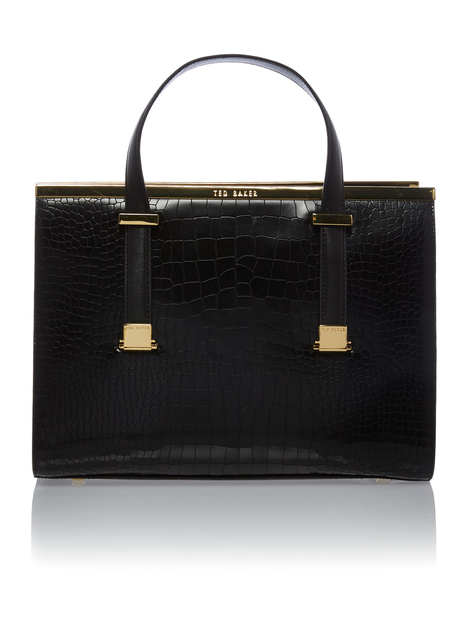 Small black croc metal t-bar tote bag