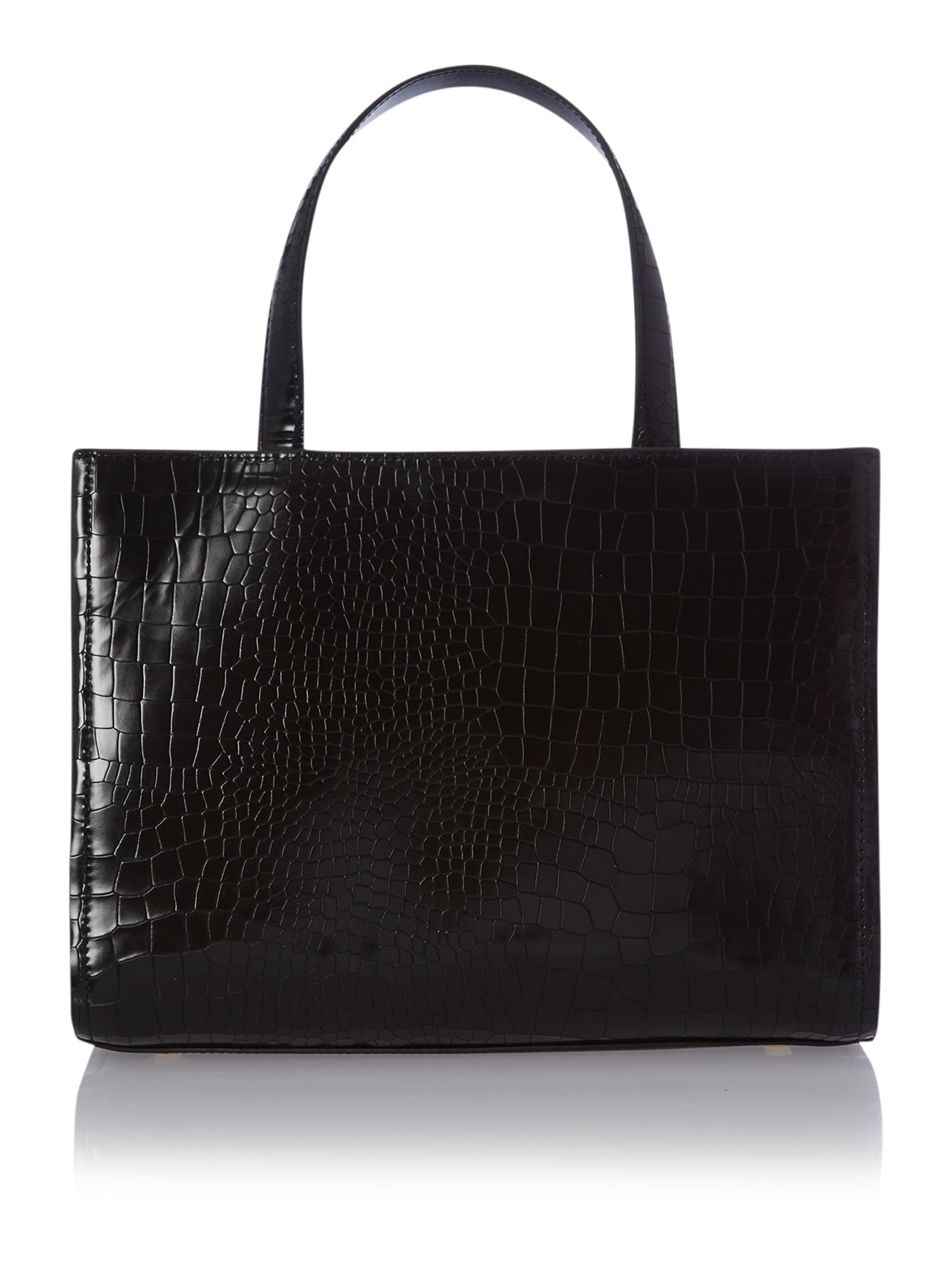 Medium black metal t-bar tote bag