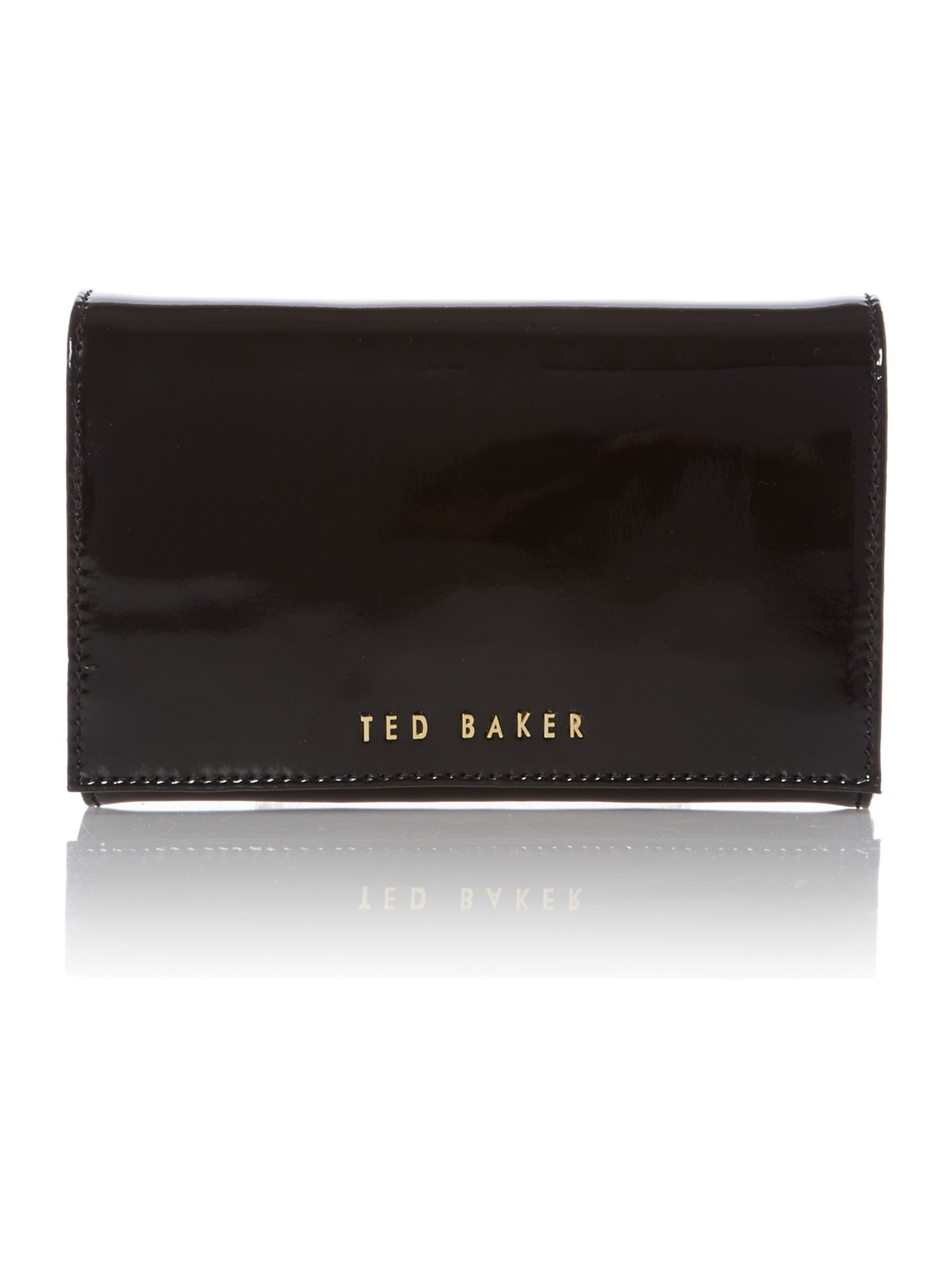 Black mini patent cross body bag