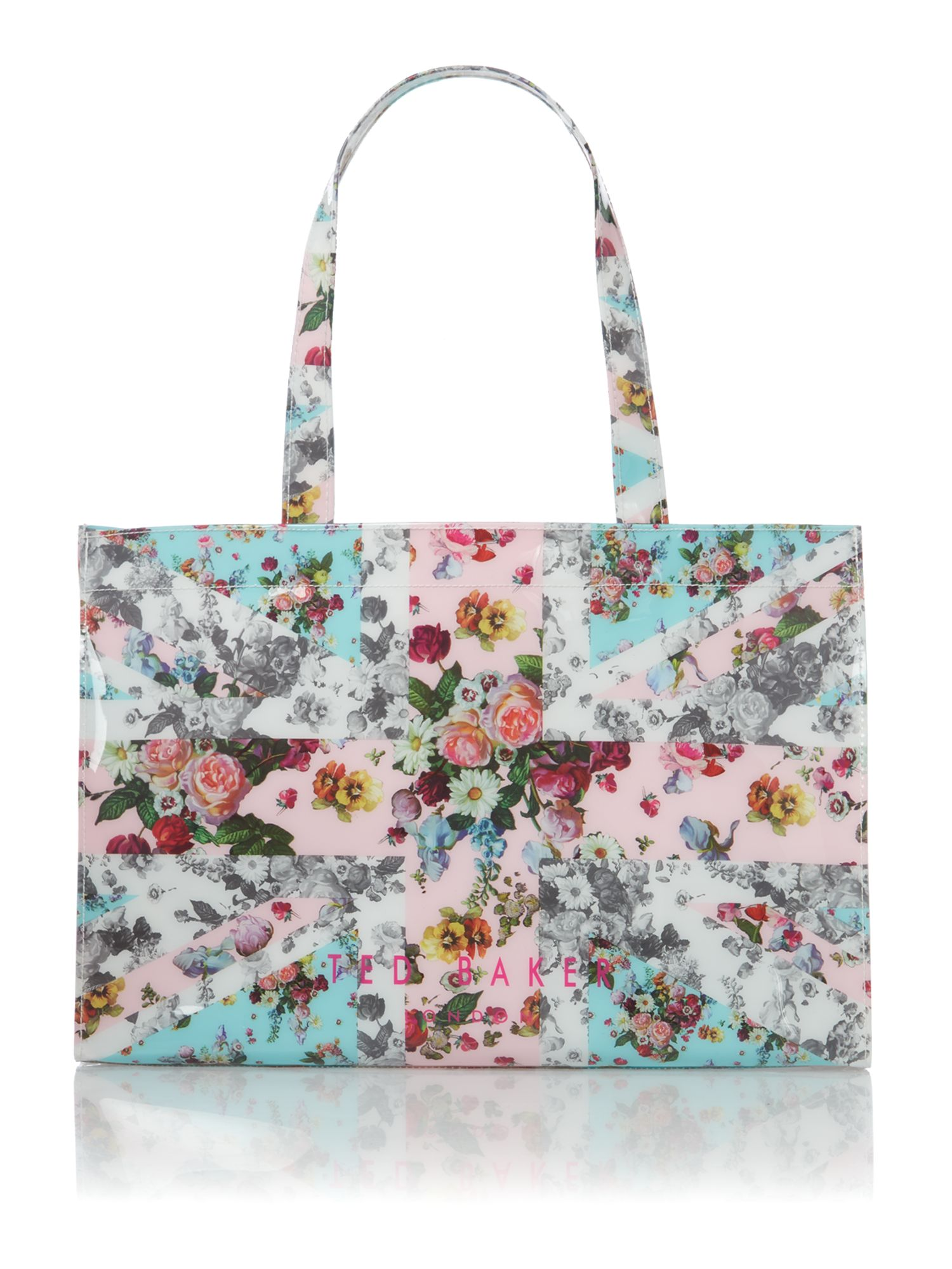 Multi coloured union jack floral bowcon bag