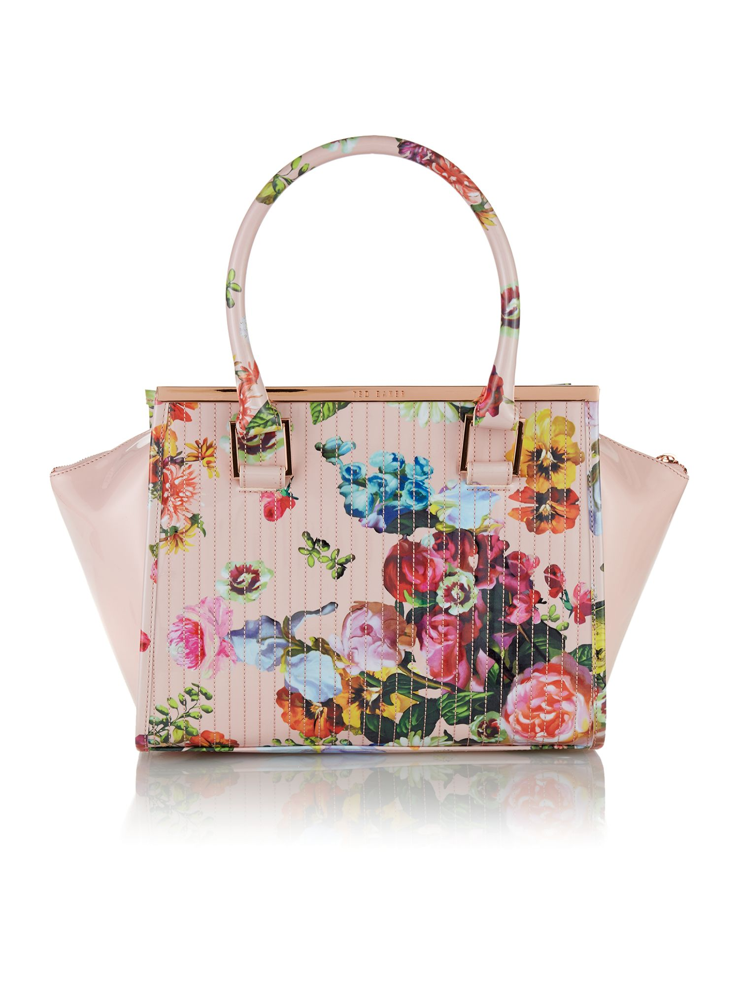 Multi coloured floral quilt tote bag