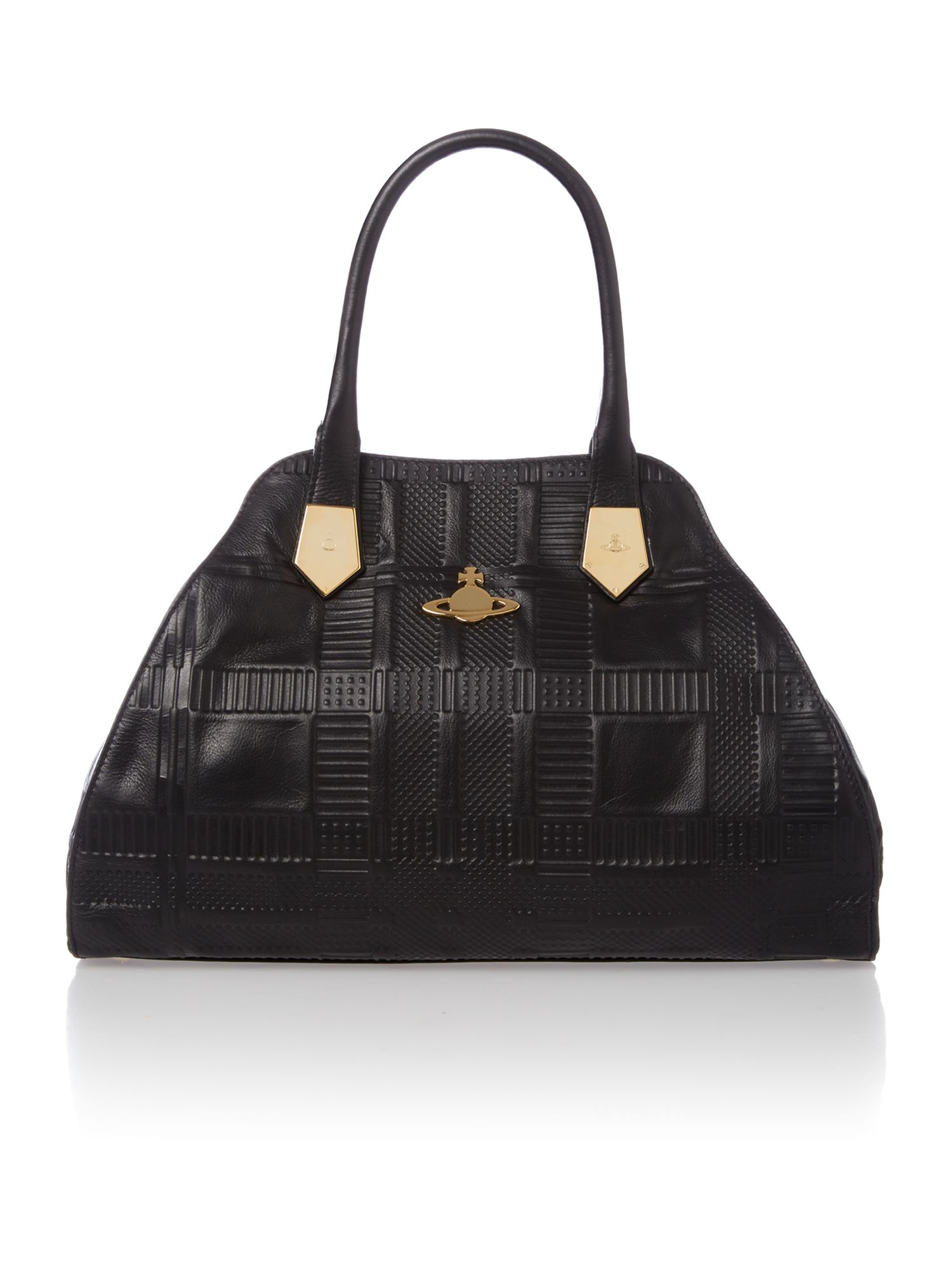 Embossed Tartan black tote bag