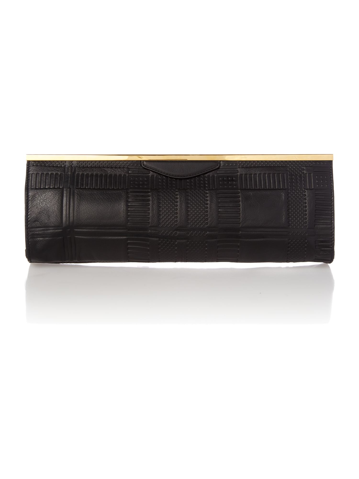Embossed Tartan black clutch bag