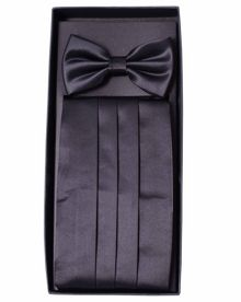Plain bow tie and cummerbund set