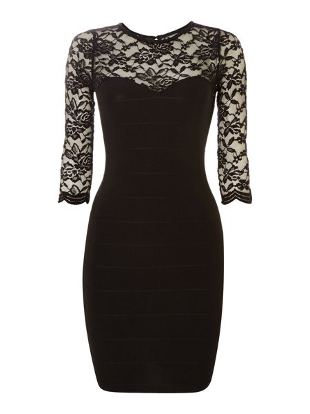 Lace detail bandage bodycon dress
