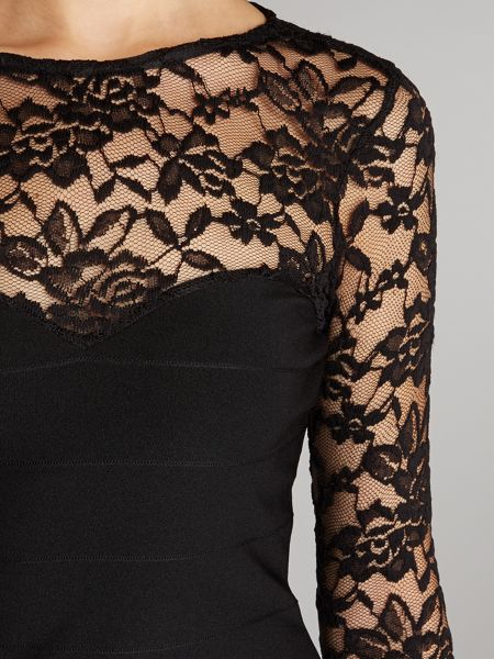Lipsy Lace detail bandage bodycon dress
