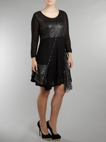 Metallic web and sequin flare dress