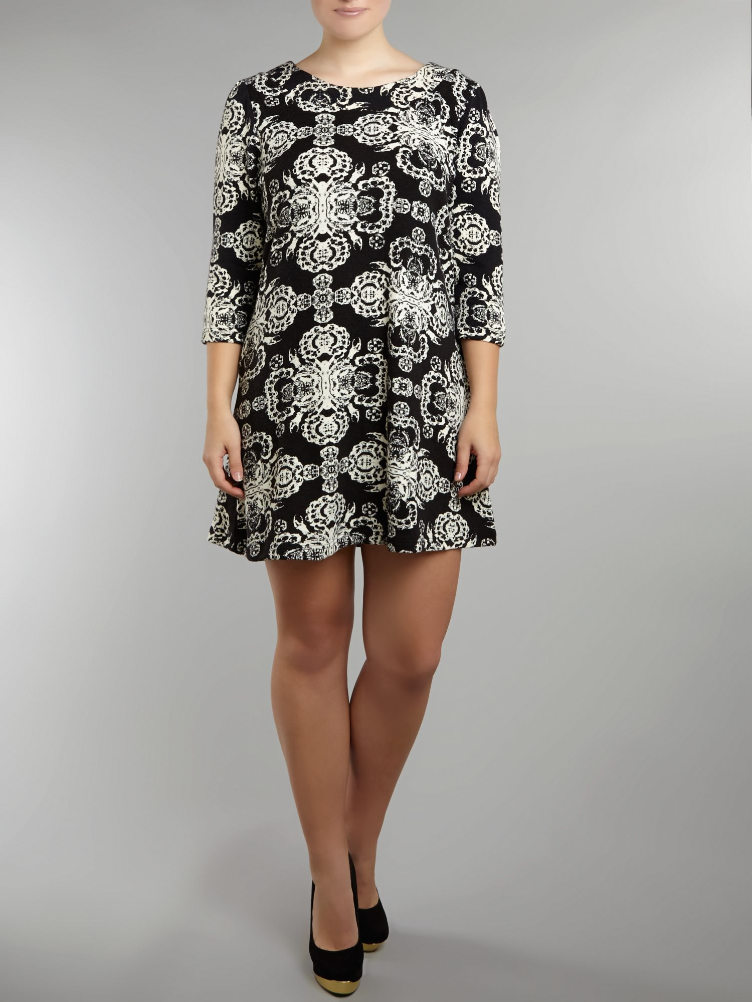 Paisley baroque print dress