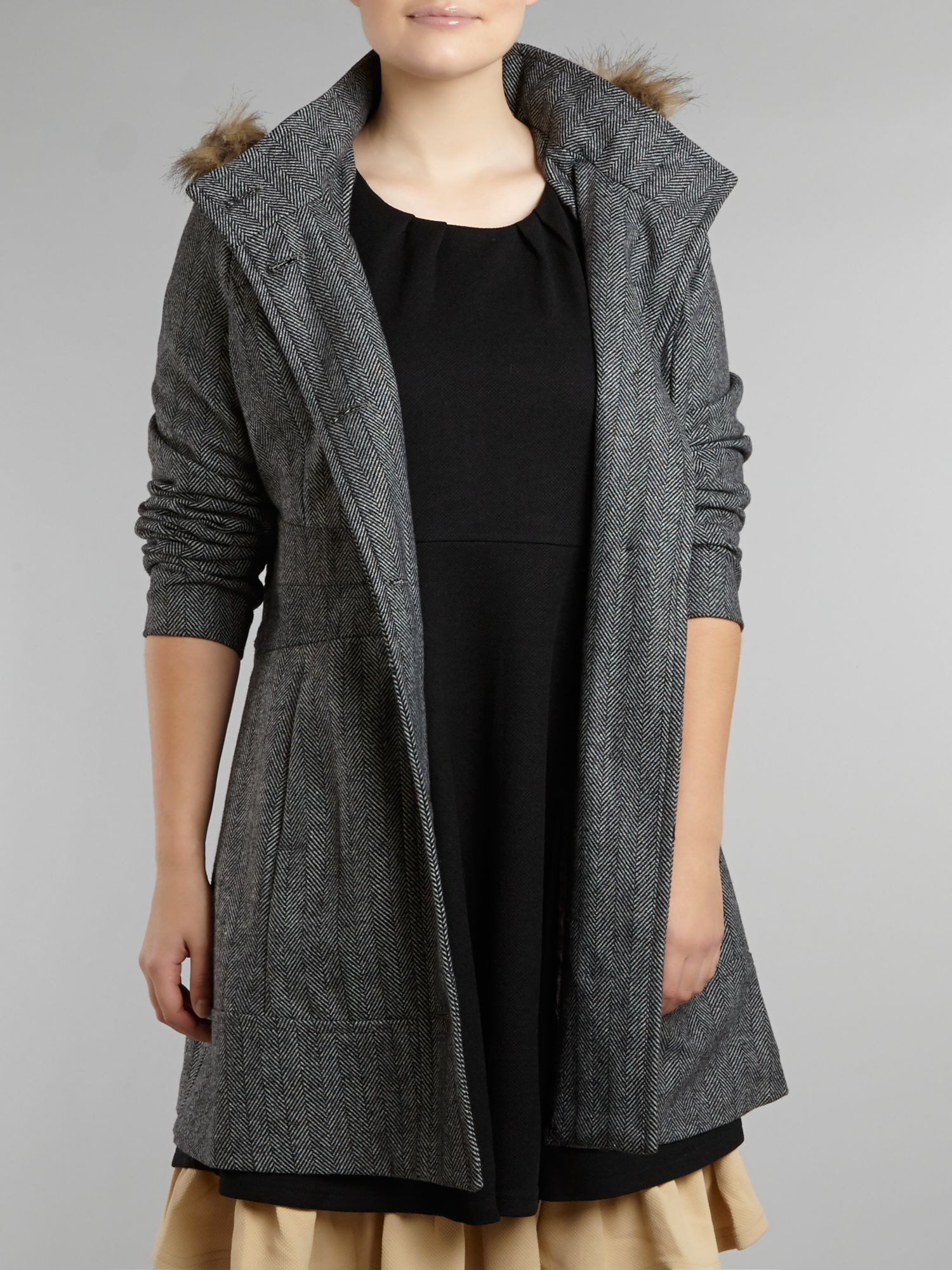Herringbone hooded jacket