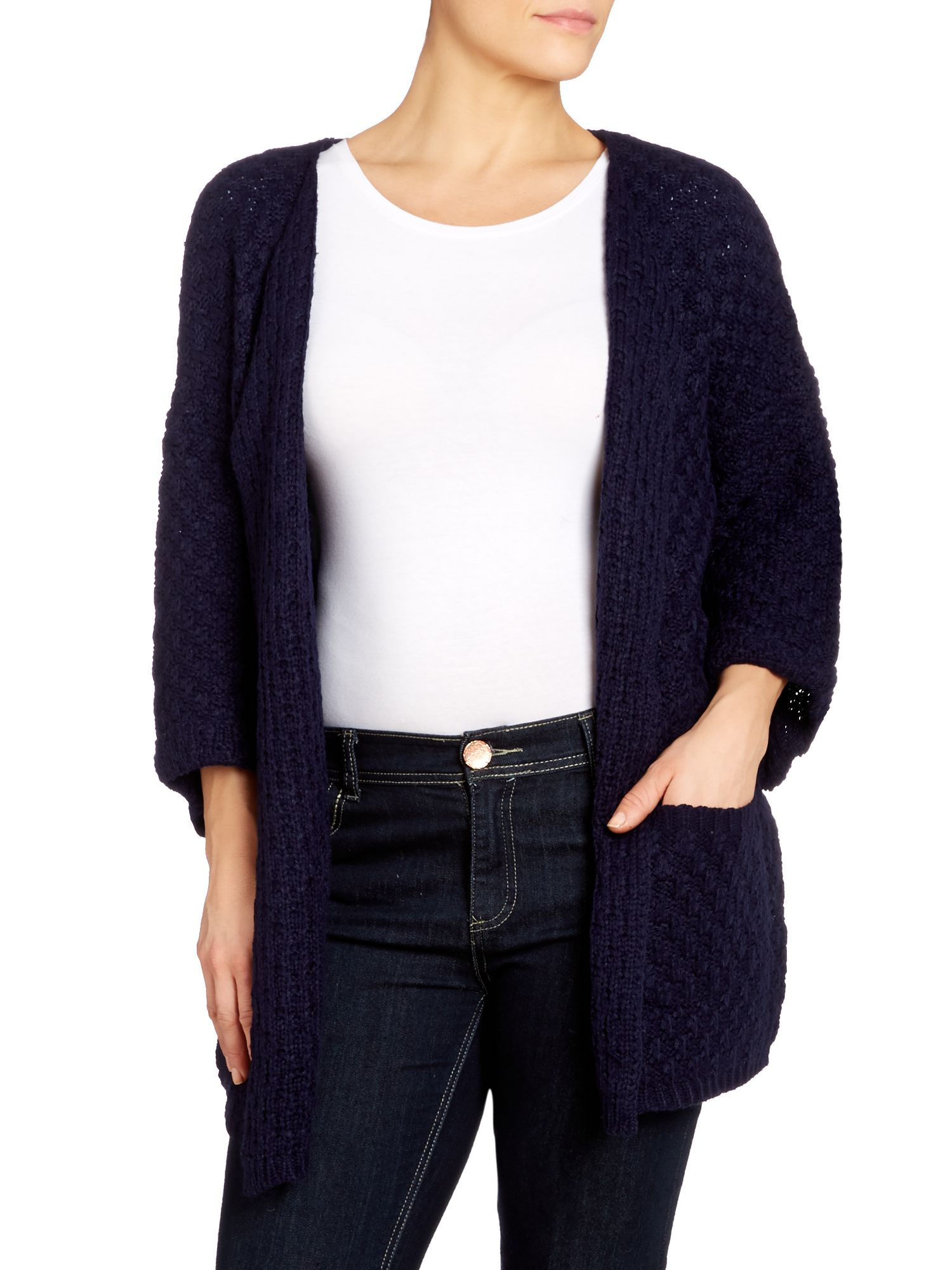 Collarless chunky knit cardigan