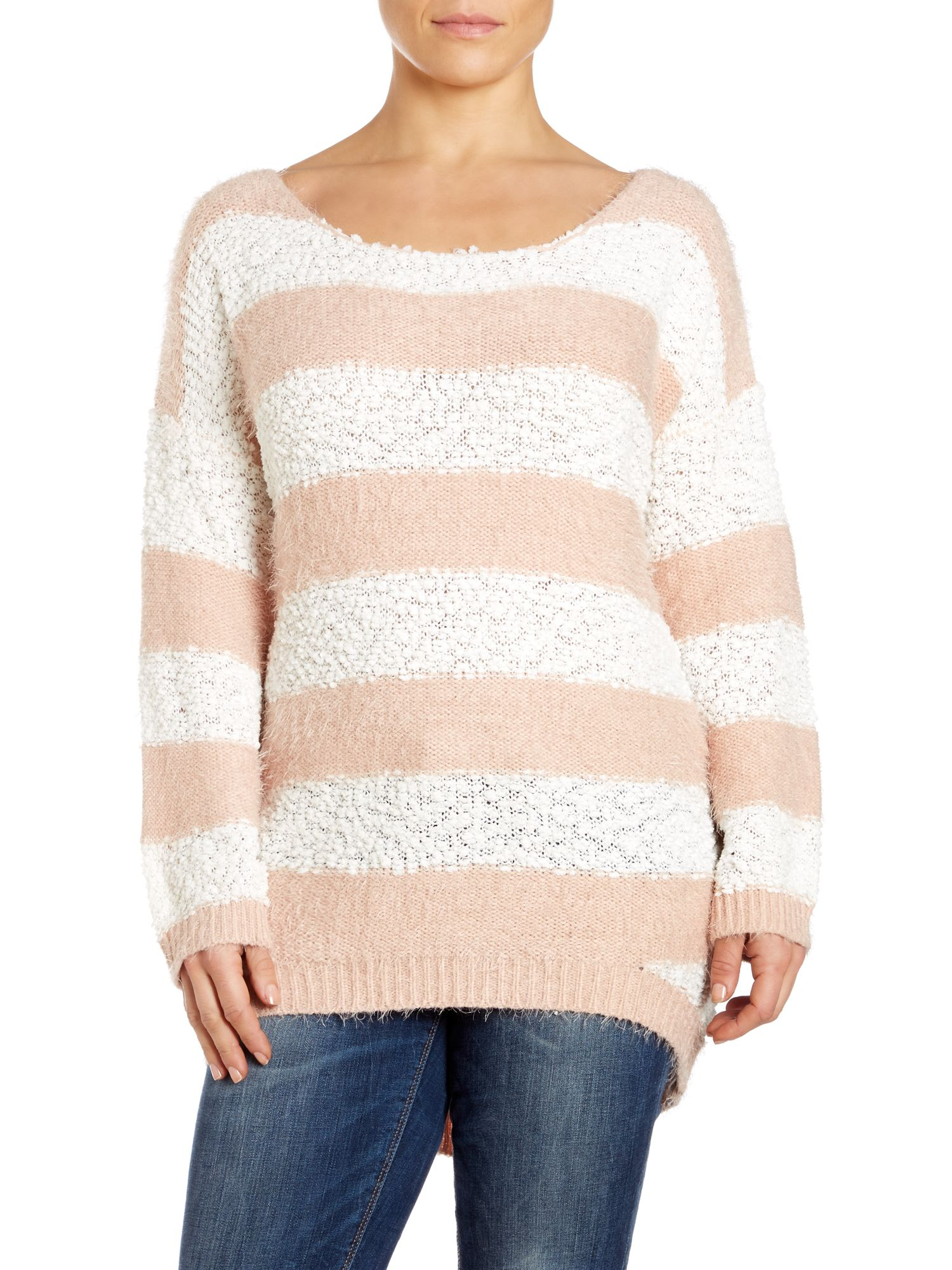 Eyelash and bobble knit jumper