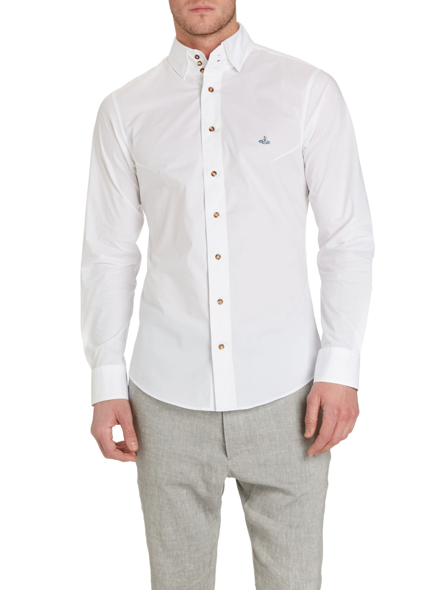 Three button collar long sleeve shirt